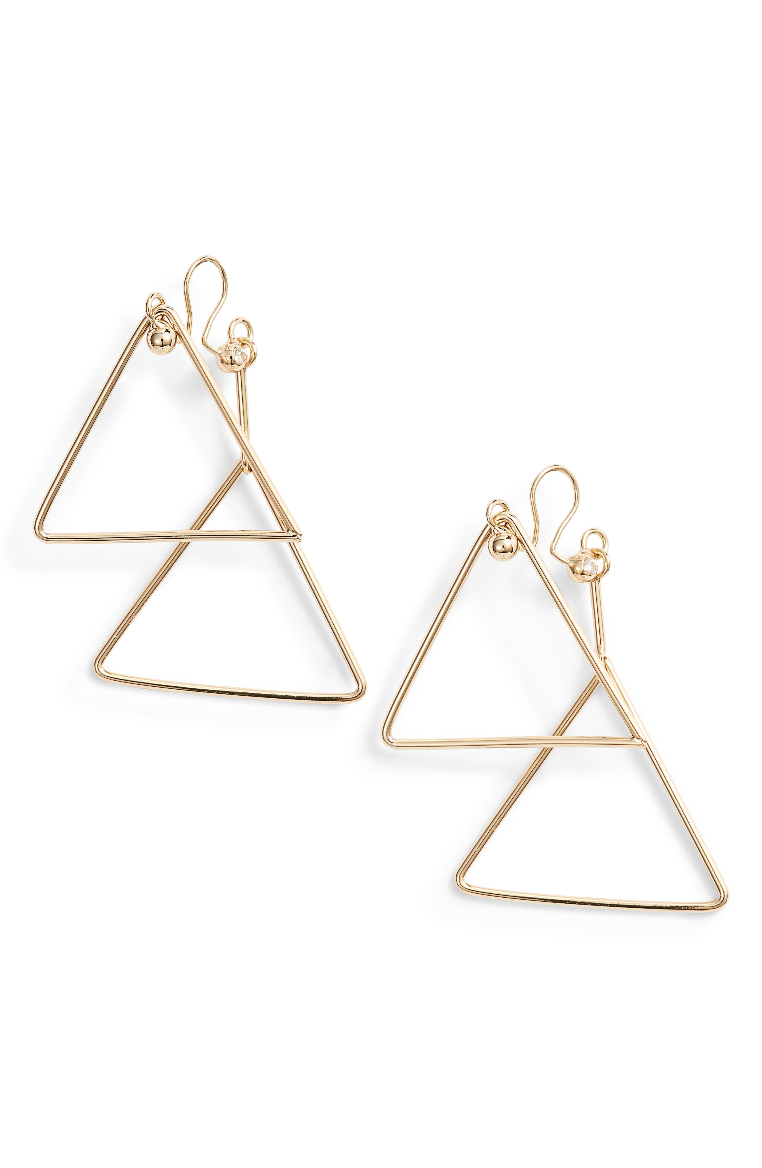Triangle Clip Earrings,                         Main,                         color, Gold