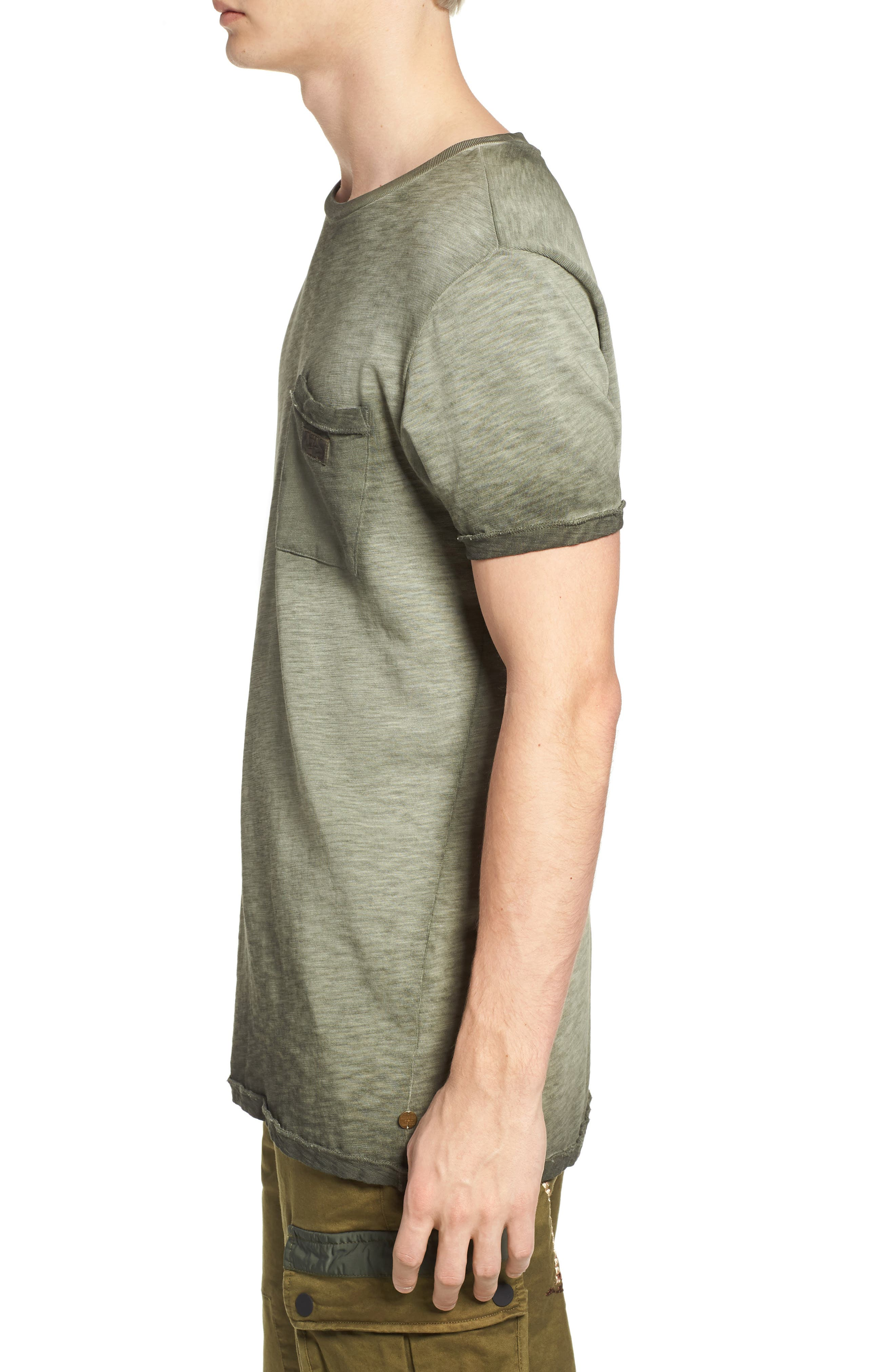 Oil Washed T-Shirt,                             Alternate thumbnail 3, color,                             Army