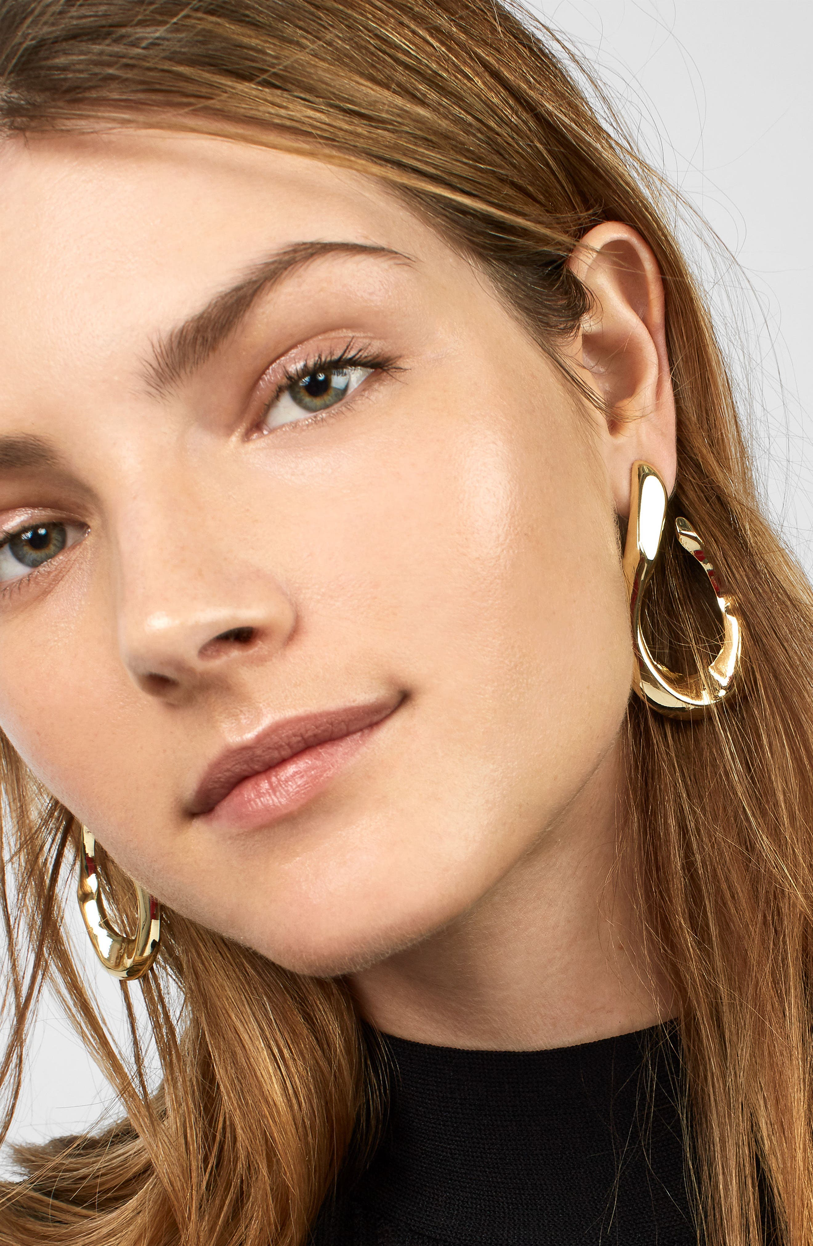 Avani Hammered Twisted Hoop Earrings,                             Alternate thumbnail 2, color,                             Gold