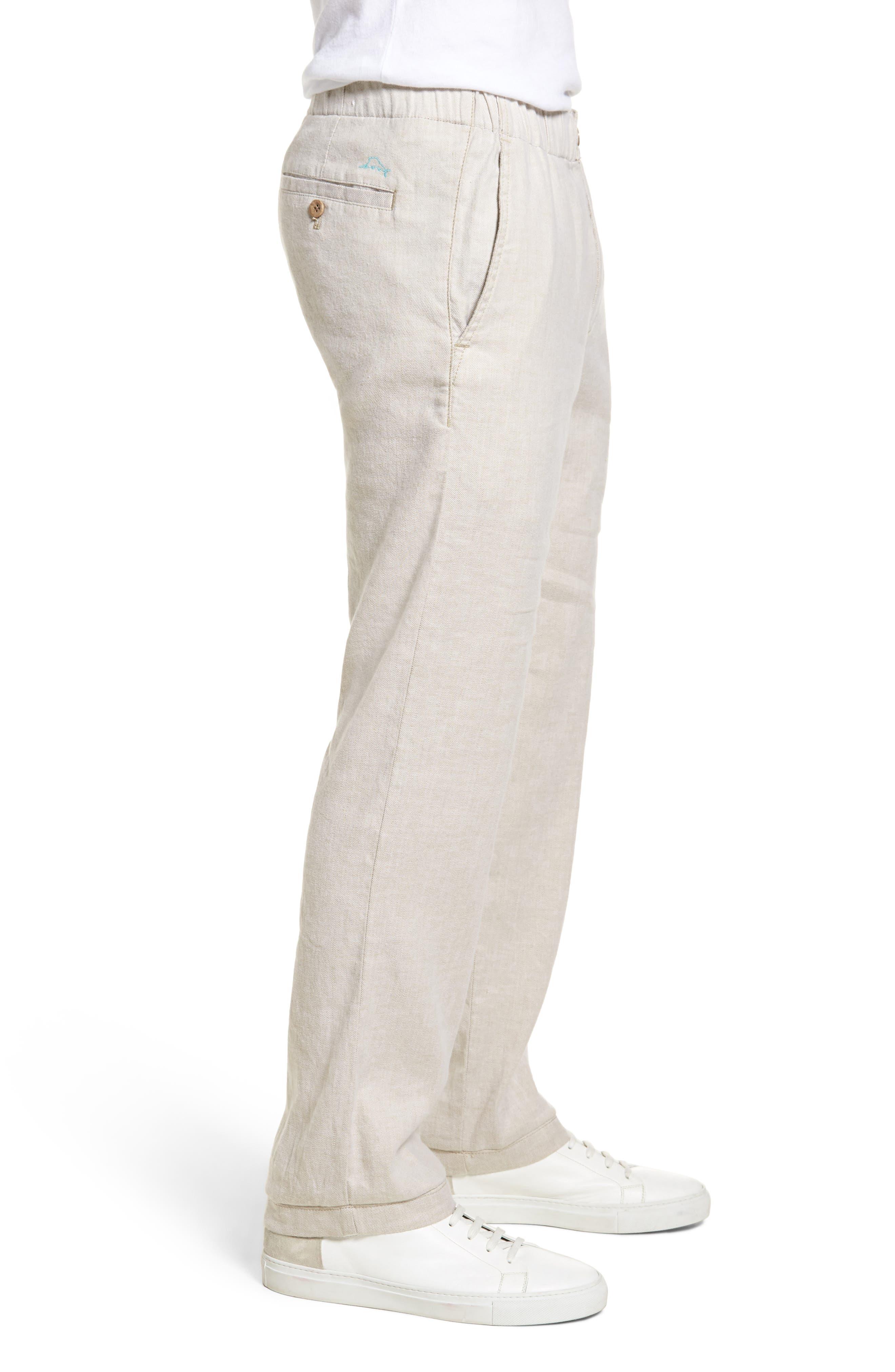 Beach Linen Blend Pants,                             Alternate thumbnail 3, color,                             Stone Khaki