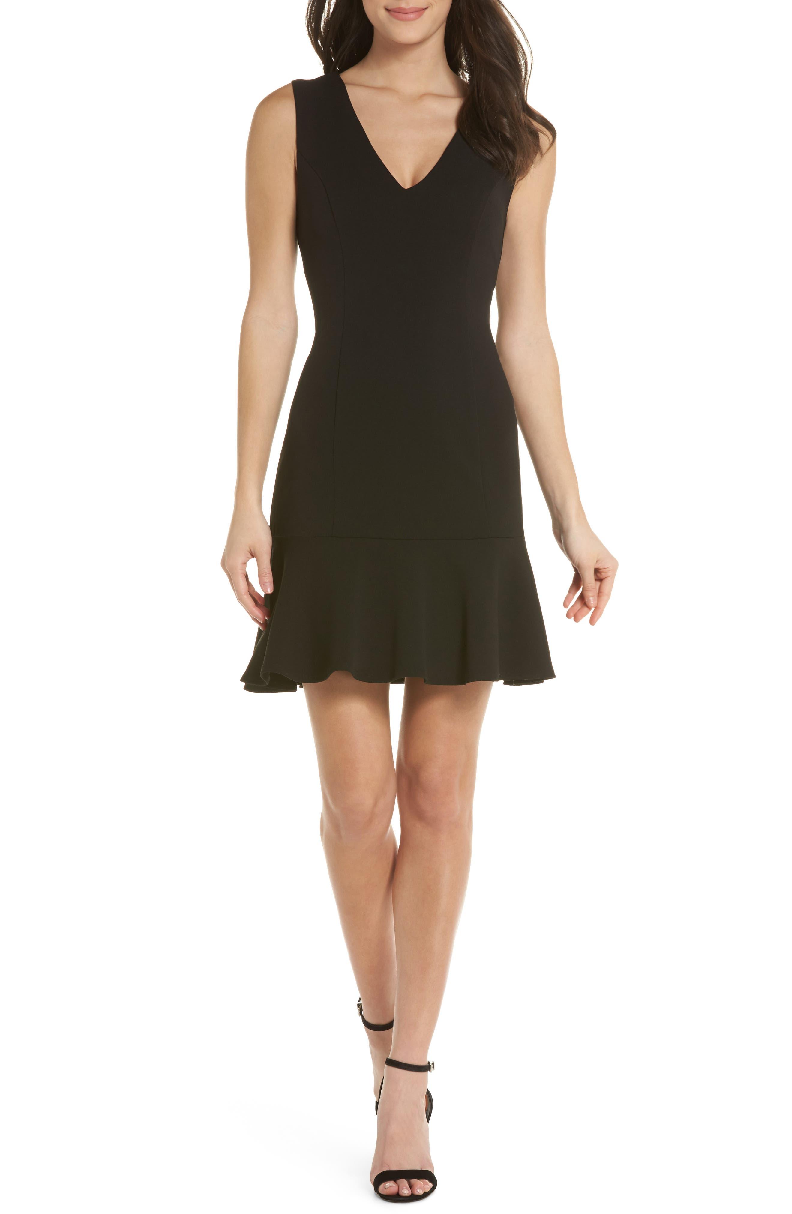V-Neck Ruffle Hem Sheath Dress,                         Main,                         color, Black
