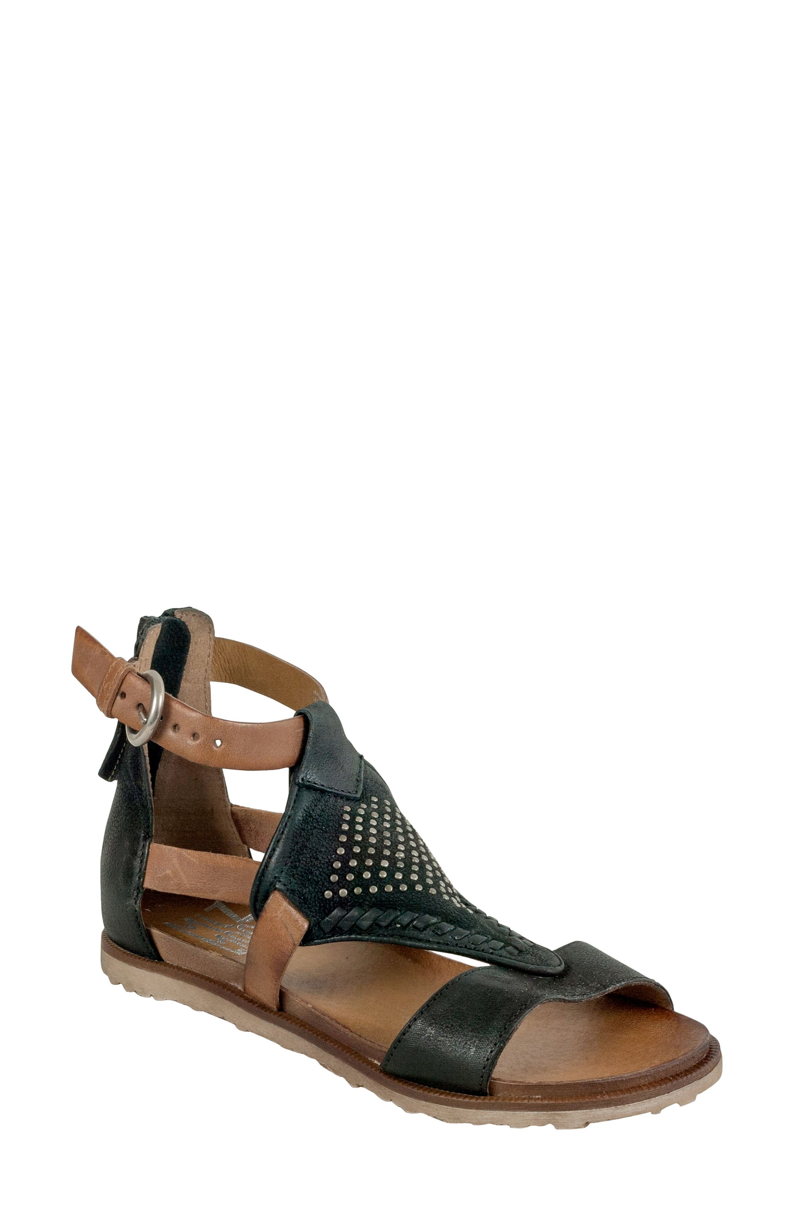Tessa Studded Diamond Sandal,                             Main thumbnail 1, color,                             Black Leather