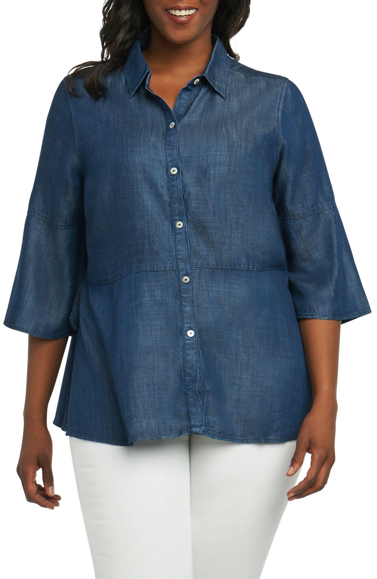 Estelle Chambray Shirt,                         Main,                         color, Navy