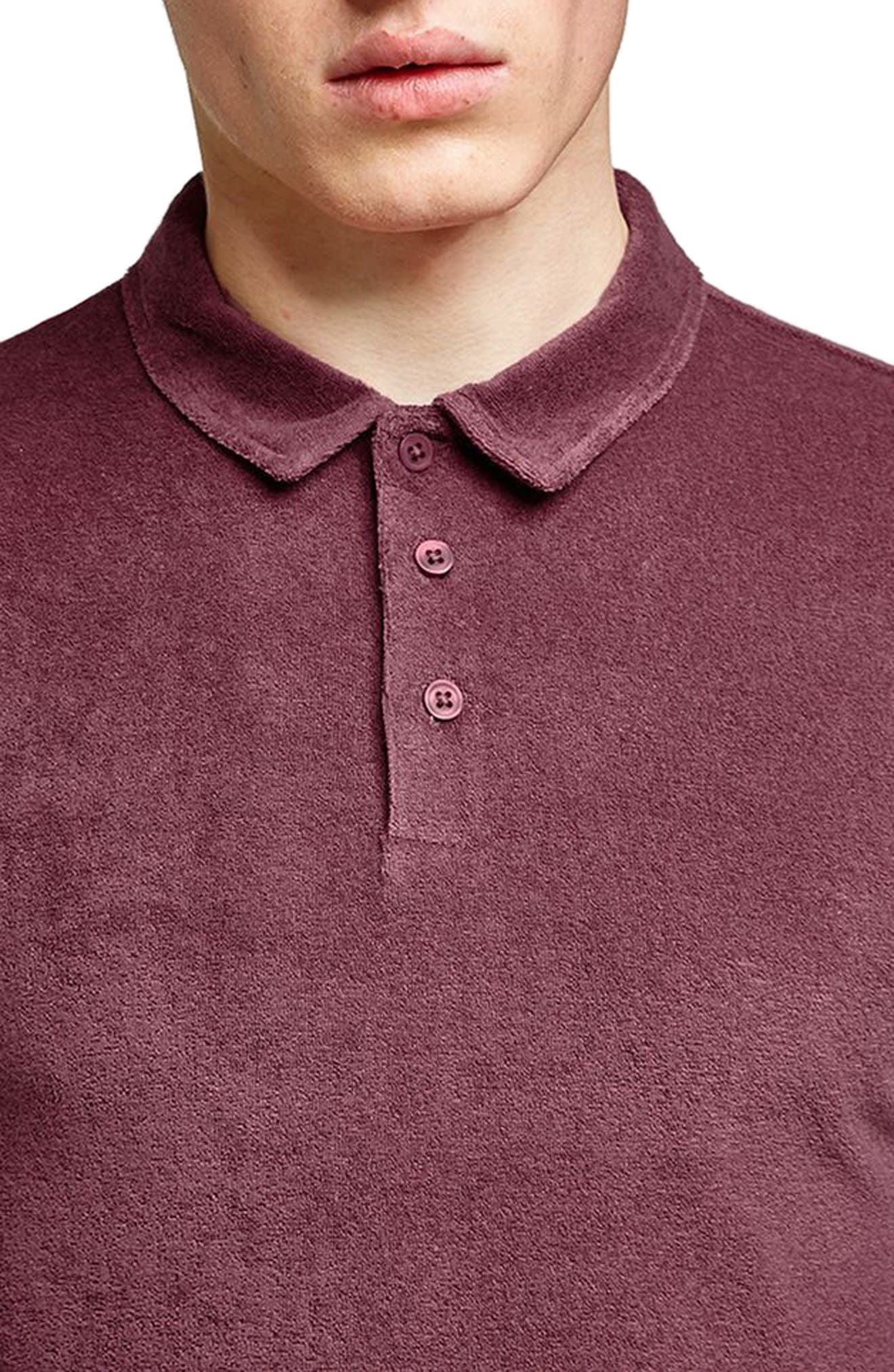 Slim Fit Washed Toweling Polo,                             Alternate thumbnail 3, color,                             Purple