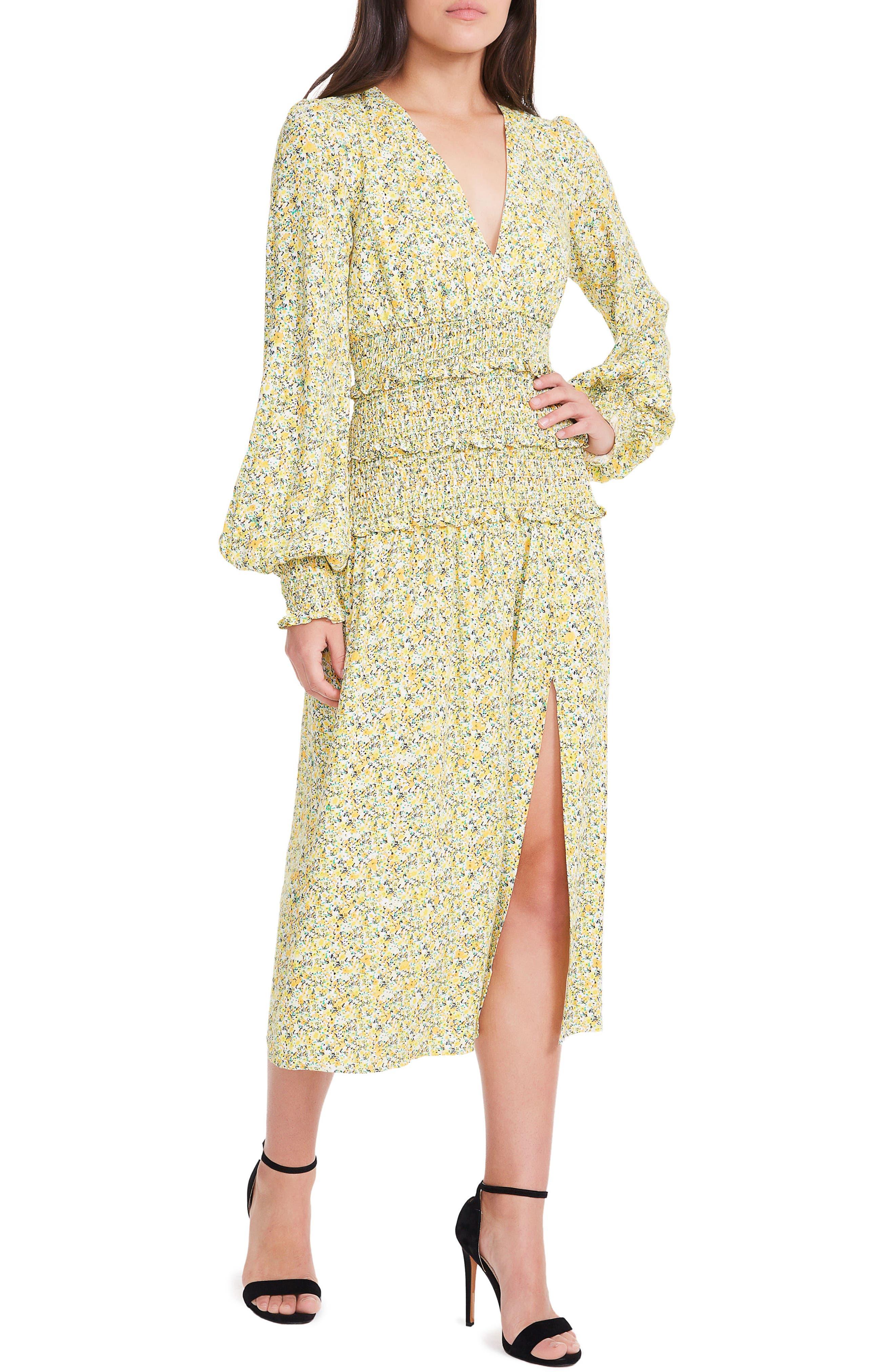 Hazel Smocked Midi Dress,                         Main,                         color, Yellow Ditsy