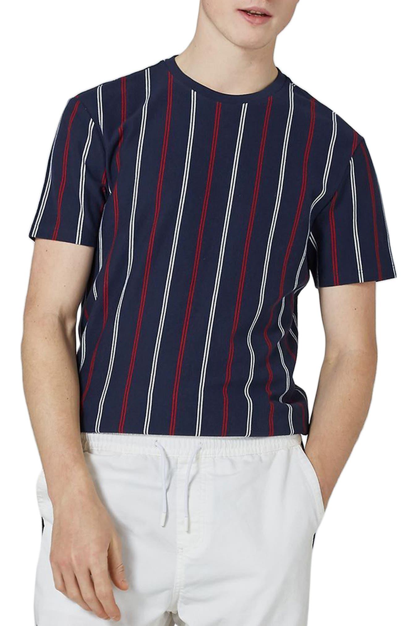 Slim Fit Vertical Striped T-Shirt,                             Main thumbnail 1, color,                             Dark Blue Multi