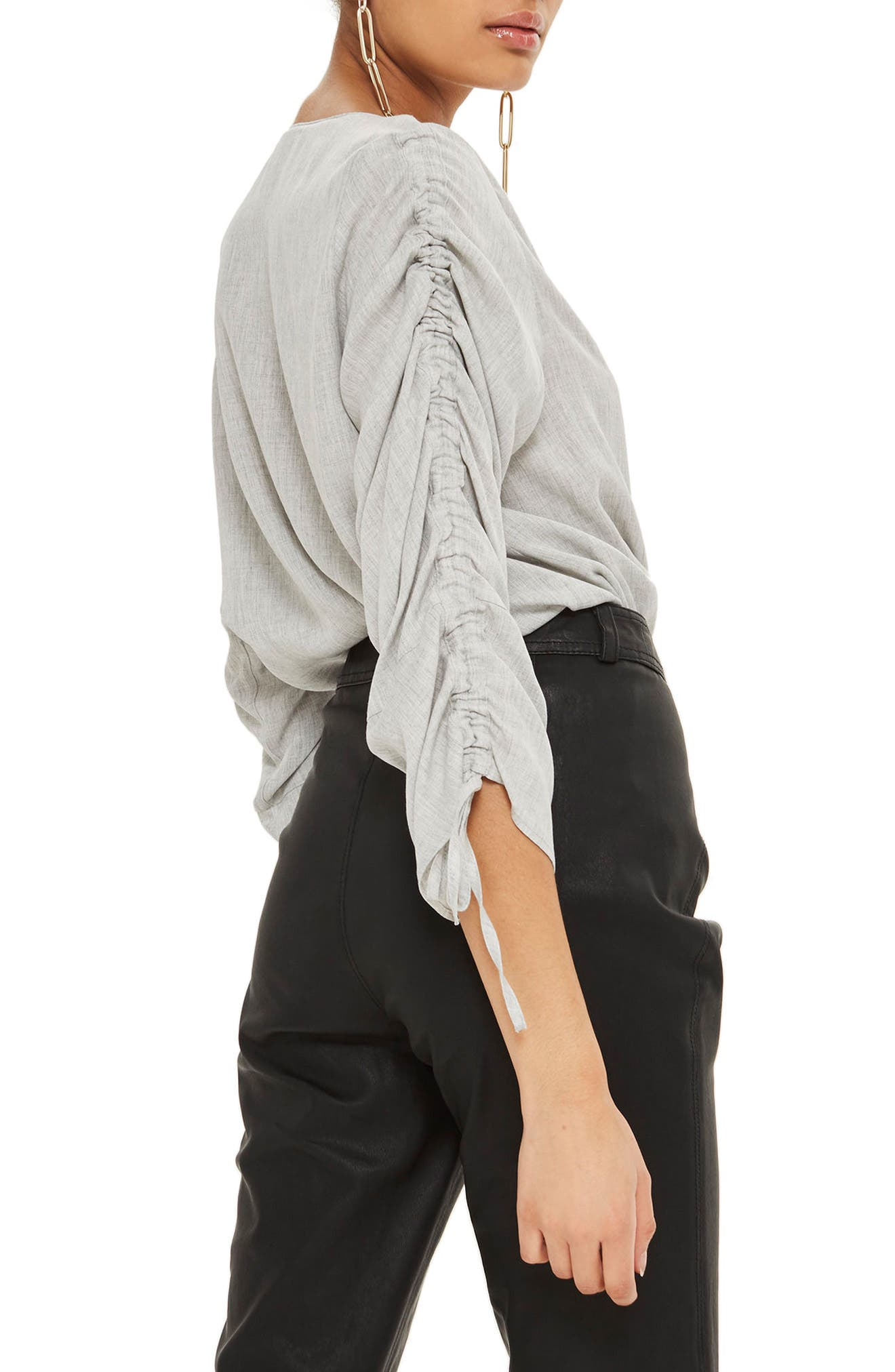 Ruched Sleeve Shirt,                             Alternate thumbnail 2, color,                             Grey