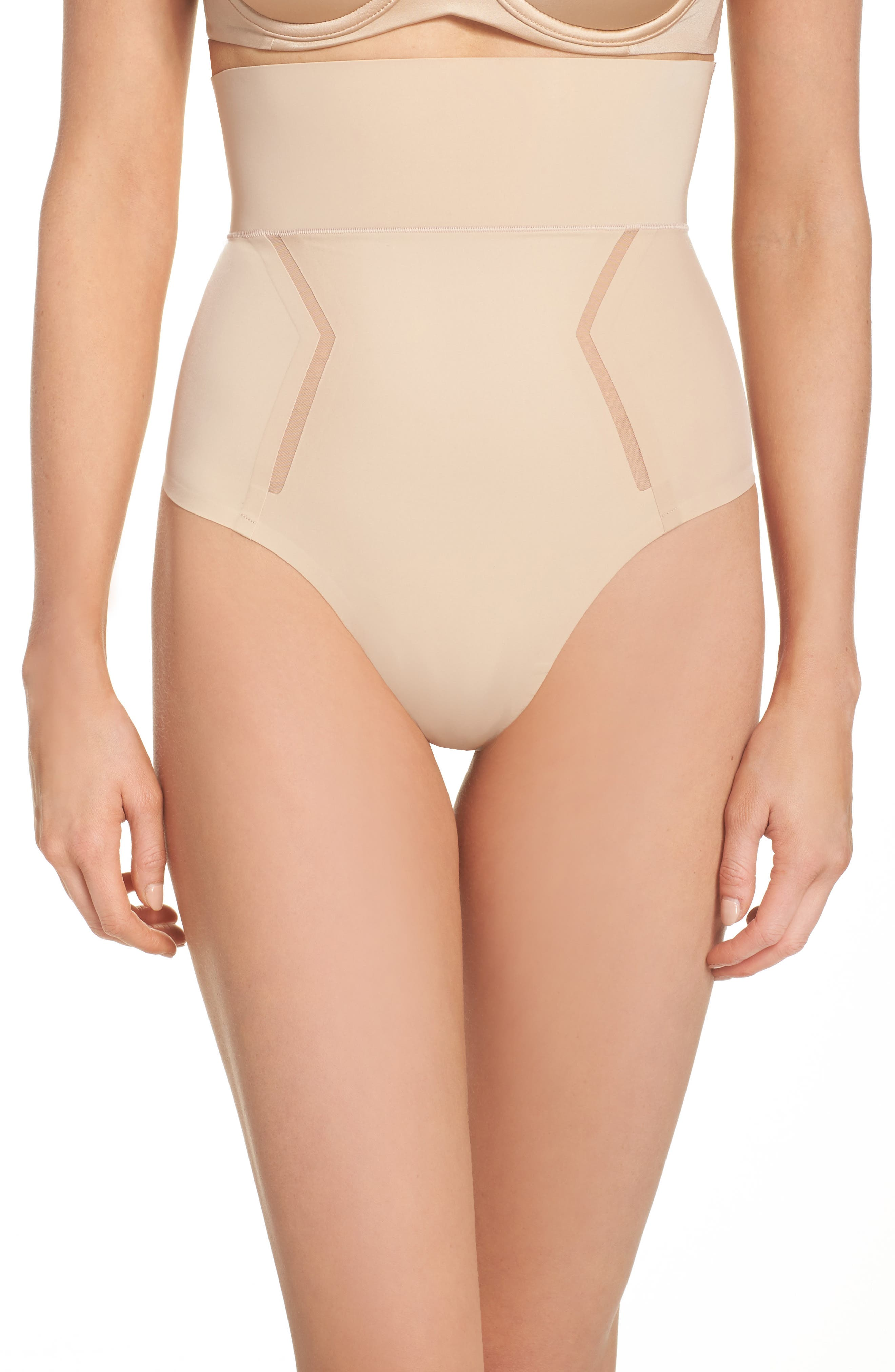 Sculpted Shapewear High Waist Thong,                             Main thumbnail 1, color,                             Bare