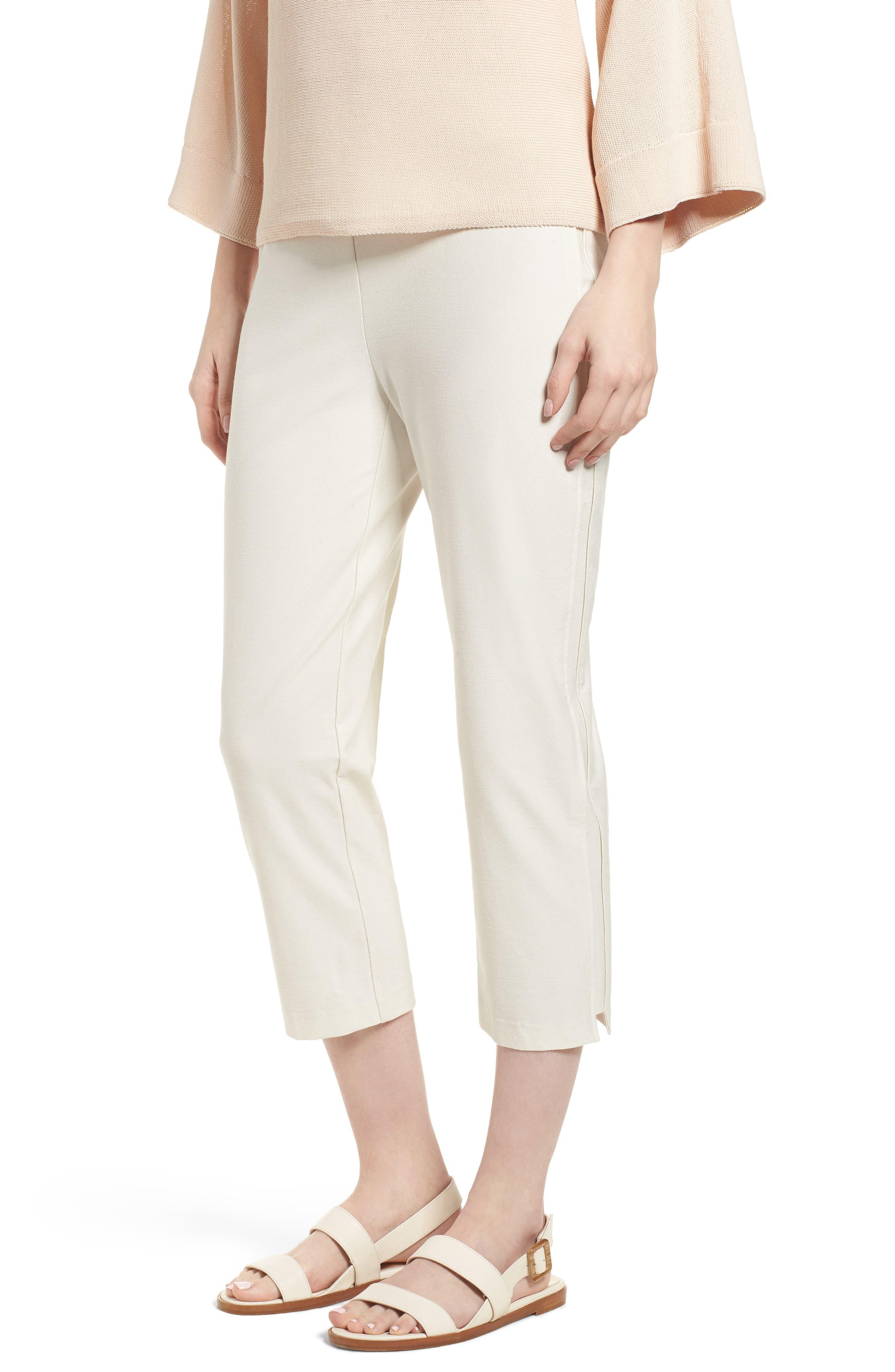 Eileen Fisher Foldover Waist Stretch Crepe Capri Pants