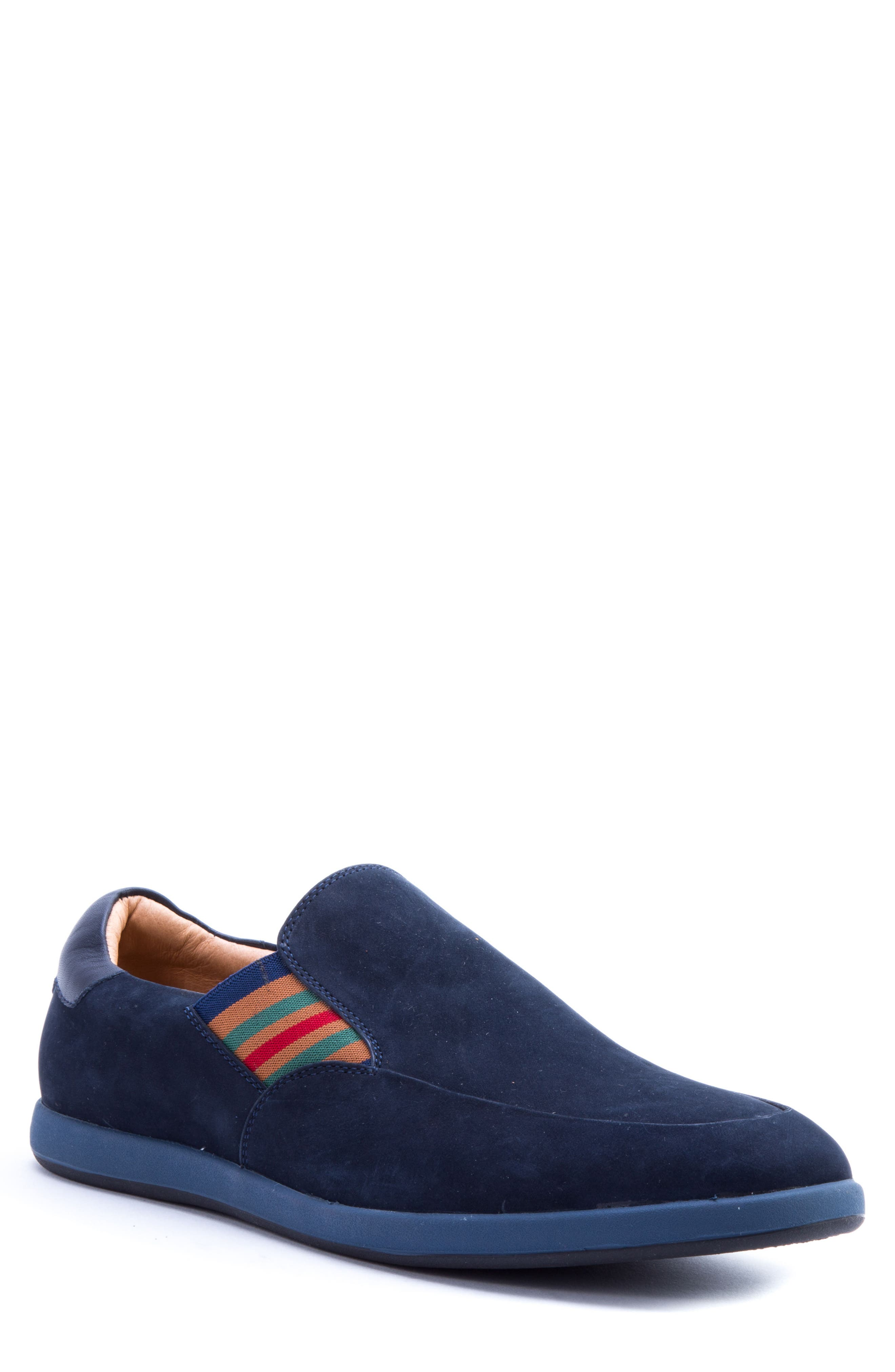Avenida Striped Slip-On,                             Main thumbnail 1, color,                             Navy Suede