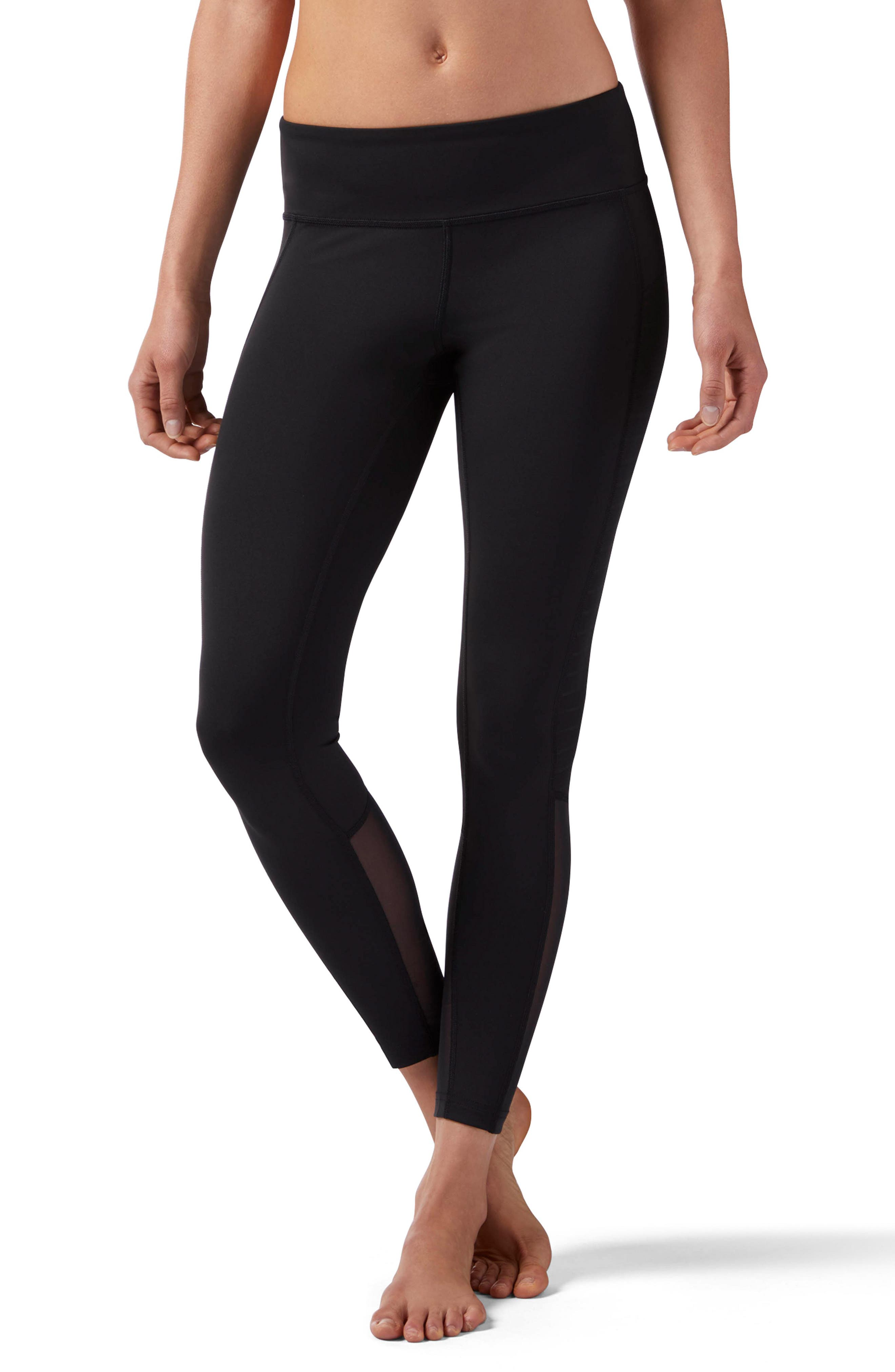 Mesh Panel Leggings,                         Main,                         color, Black