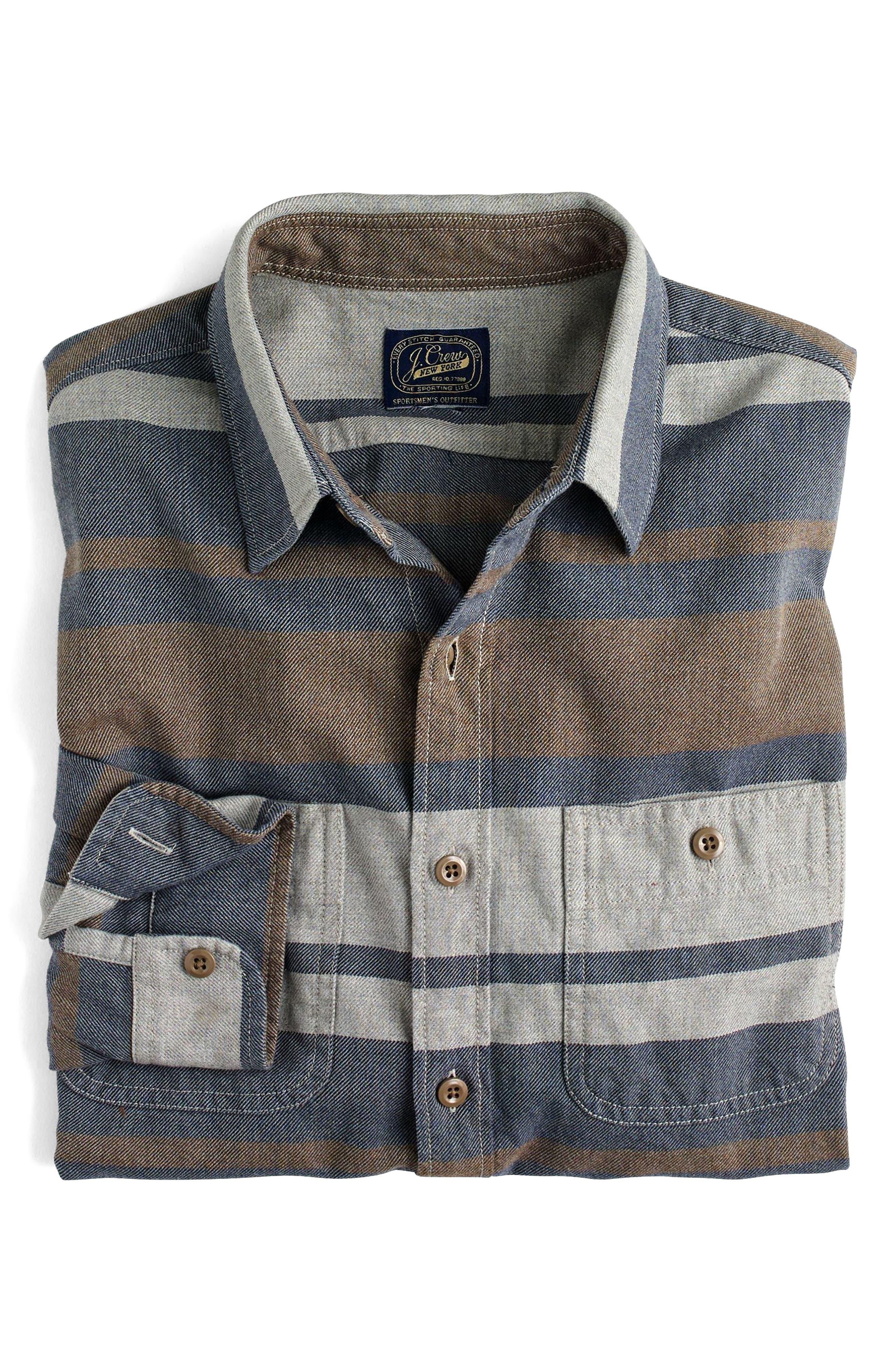 Classic Fit Deck Stripe Work Shirt,                             Alternate thumbnail 3, color,                             Pavement Sea
