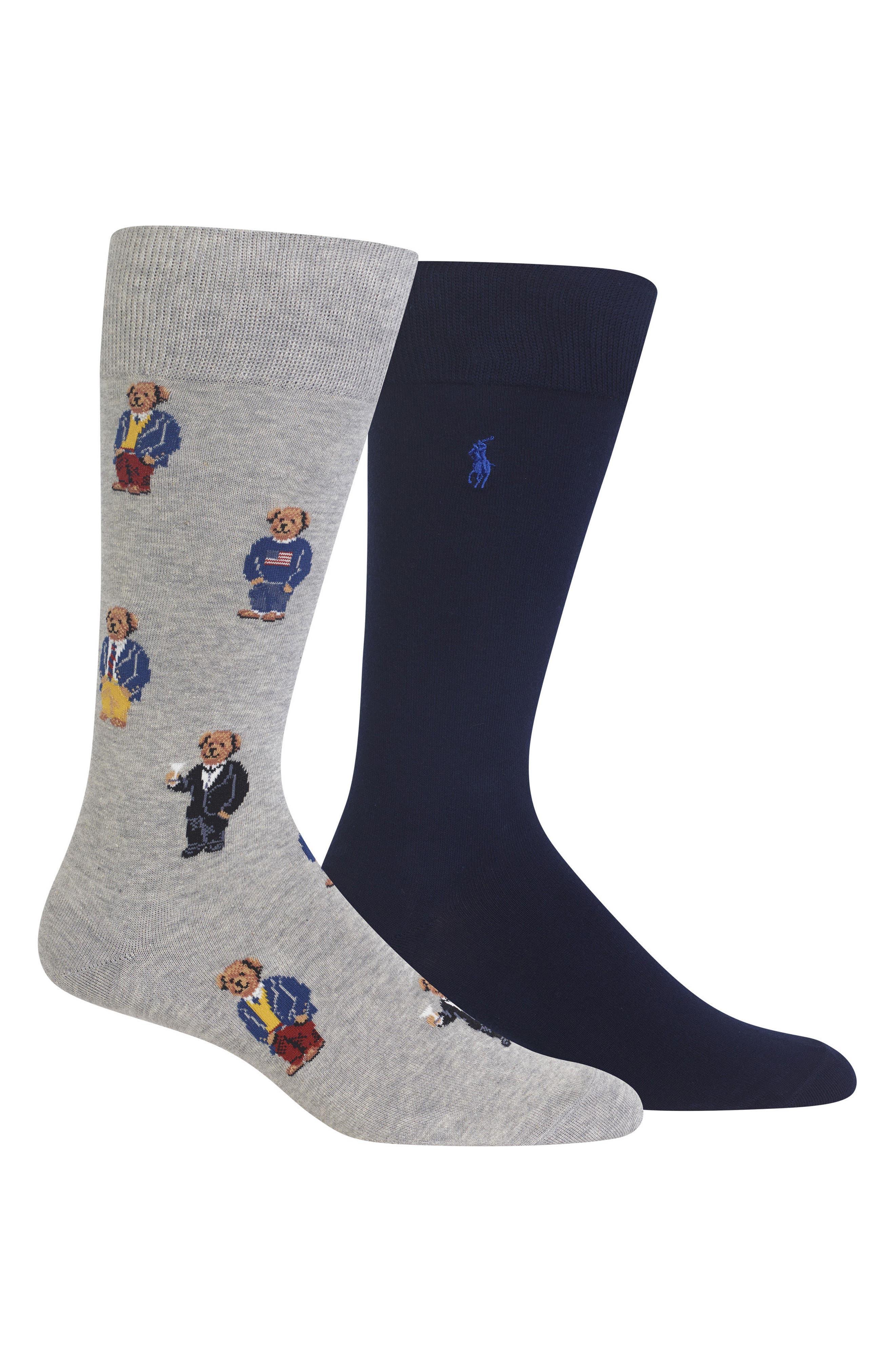 2-Pack Socks,                             Main thumbnail 1, color,                             Grey/ Navy