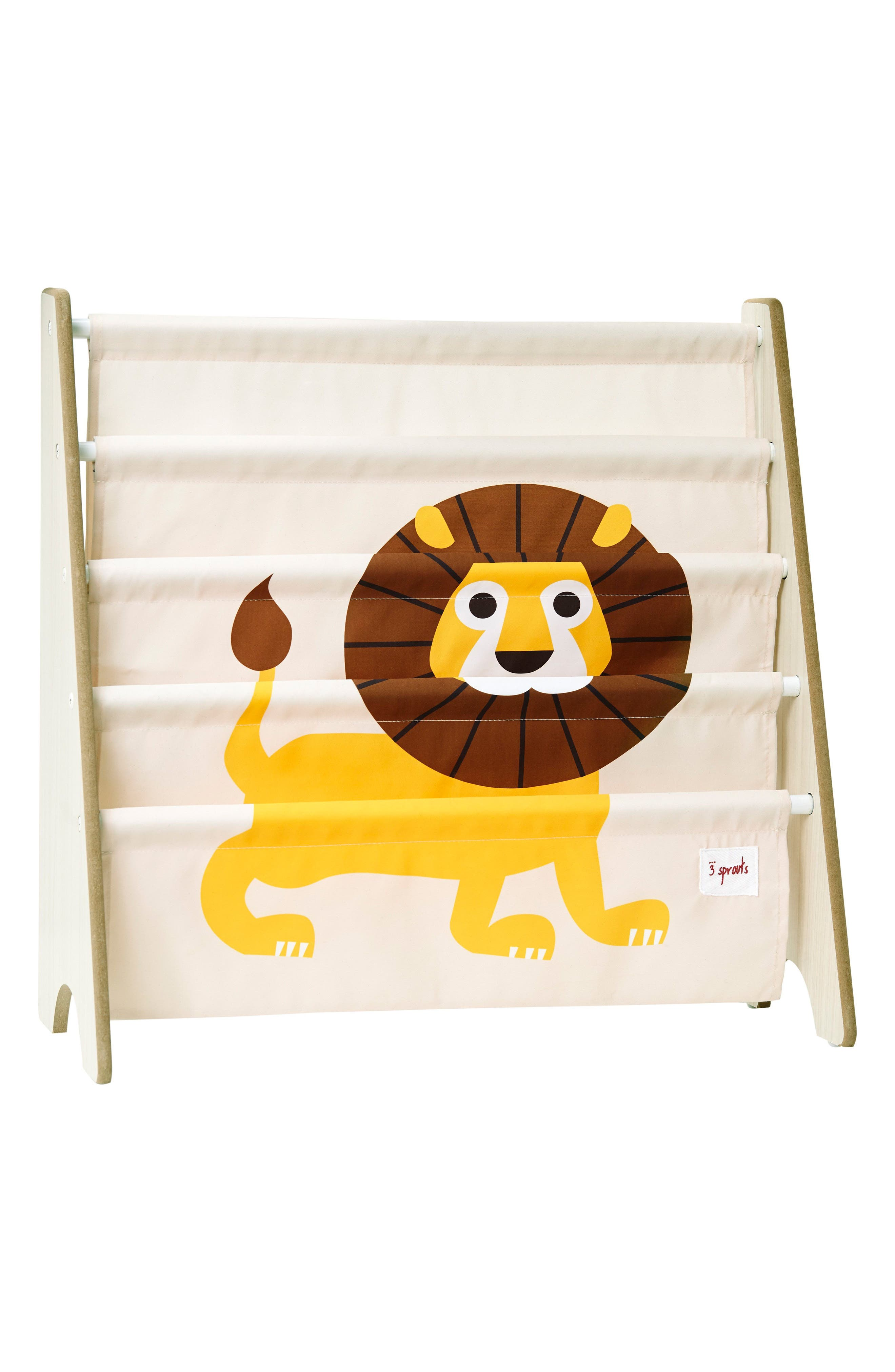 Lion Book Rack,                         Main,                         color, Yellow