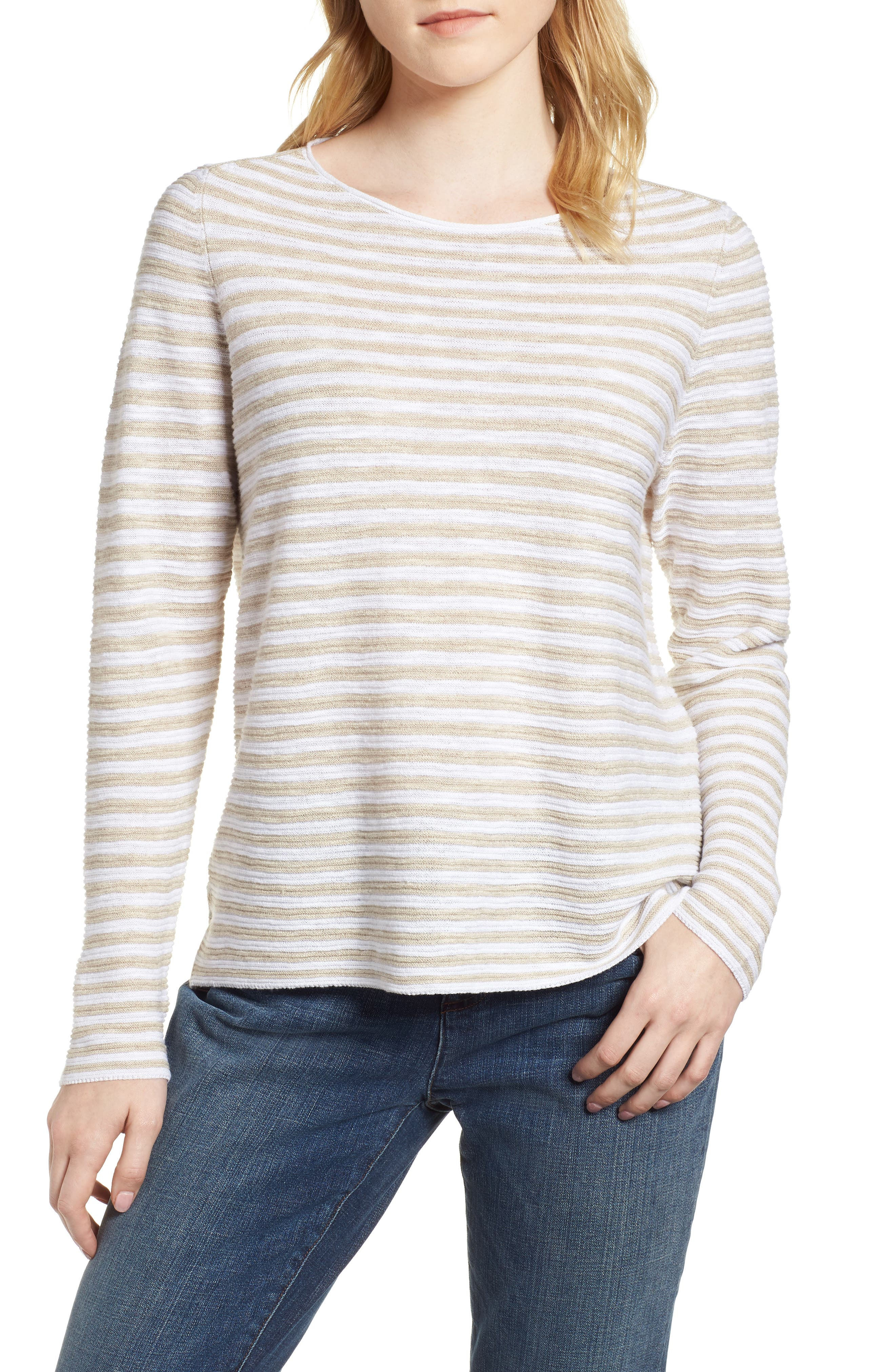 Stripe Organic Linen & Cotton Sweater,                         Main,                         color, White/ Natural