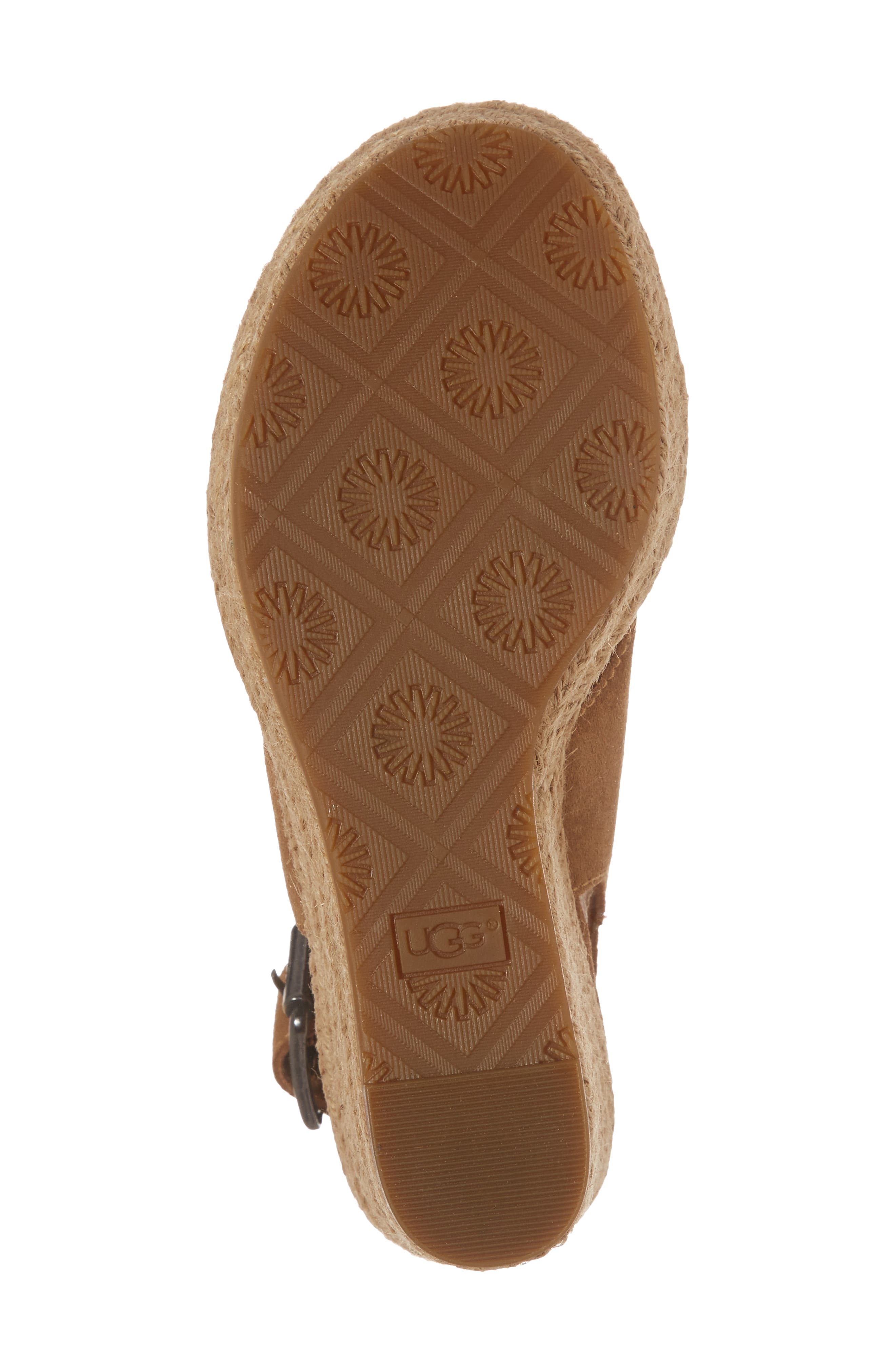 Harlow Platform Wedge Sandal,                             Alternate thumbnail 6, color,                             Chestnut Suede