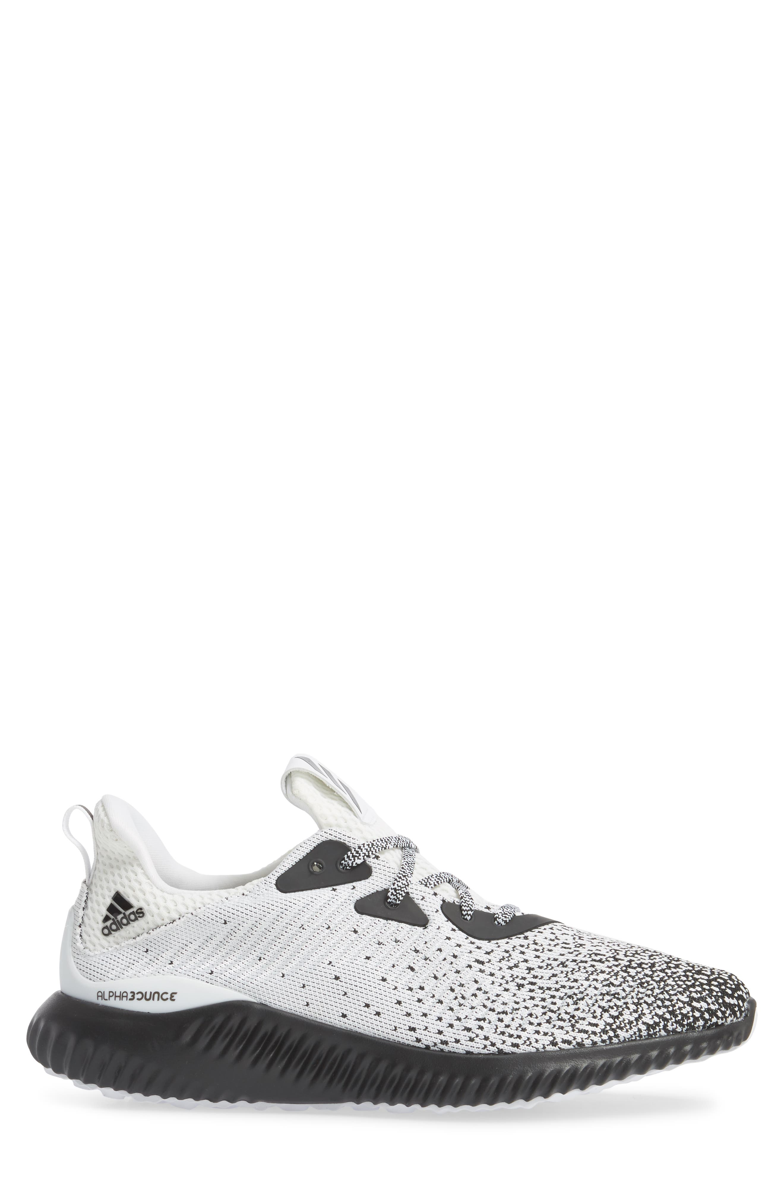 AlphaBounce CK Running Shoe,                             Alternate thumbnail 3, color,                             Core Black / White / Black