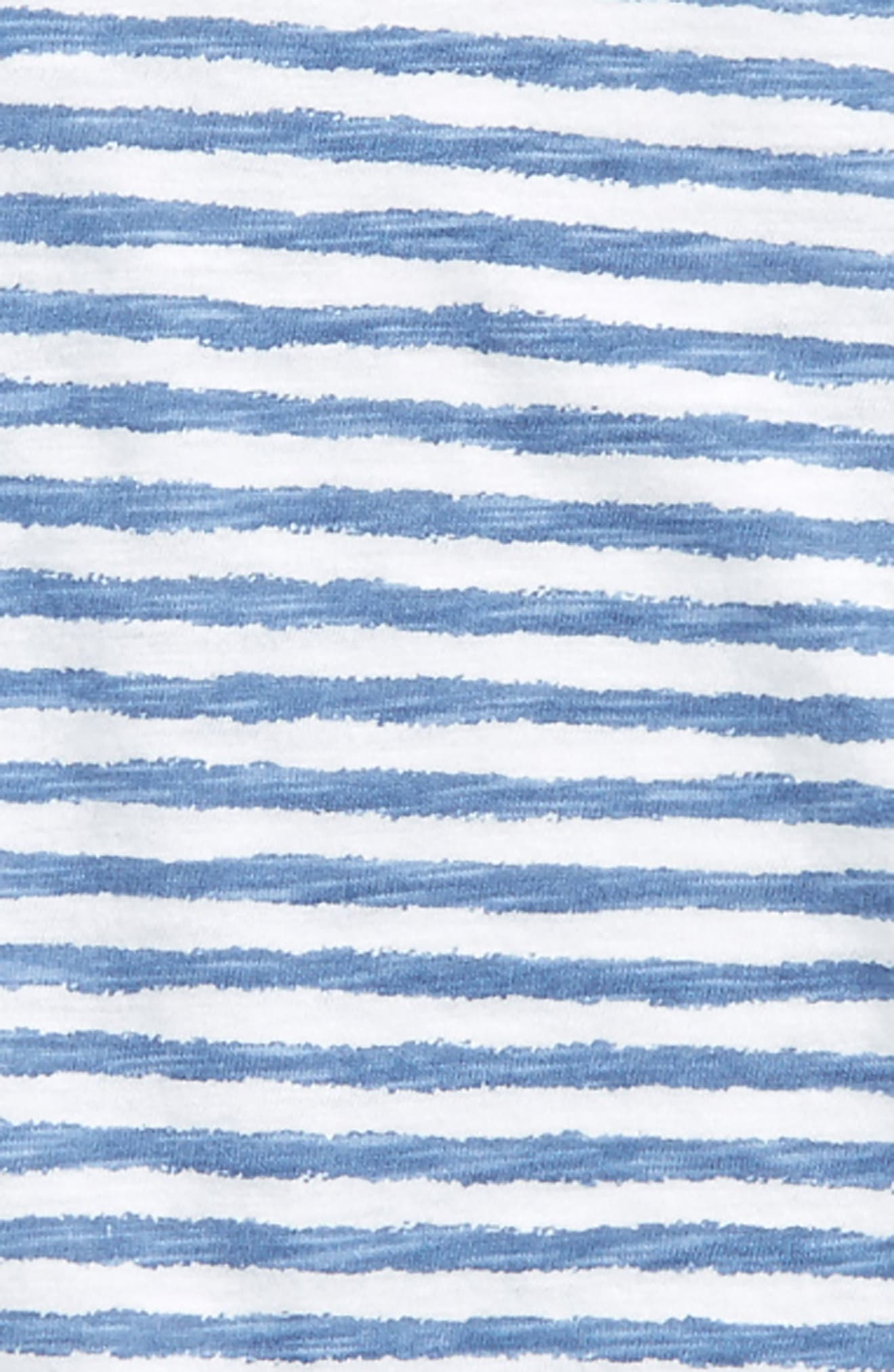 Ruffle Sleeve Top,                             Alternate thumbnail 2, color,                             White- Blue Stripe