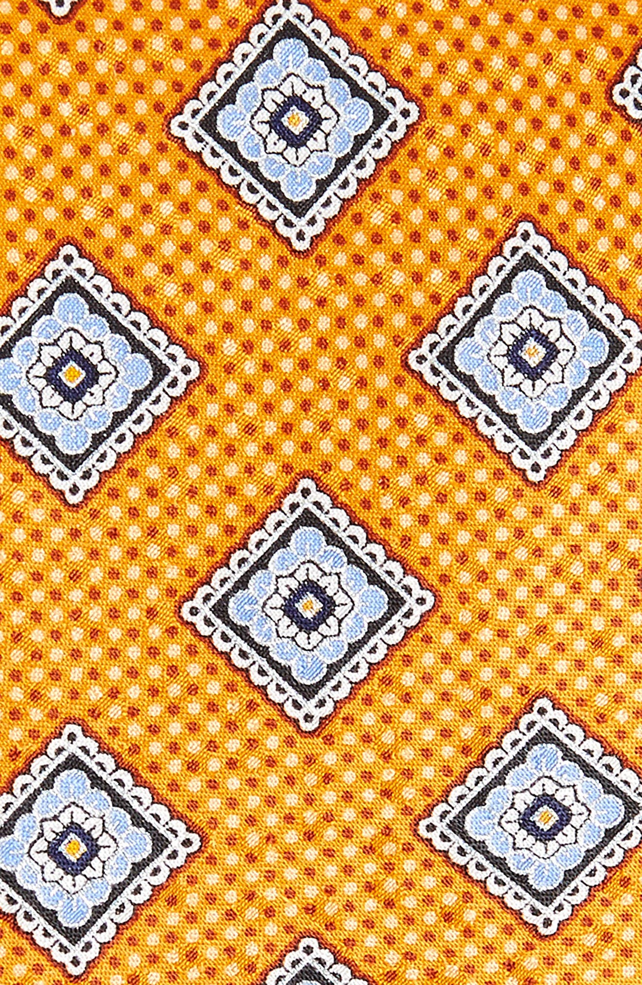 Medallion Silk Tie,                             Alternate thumbnail 2, color,                             Orange