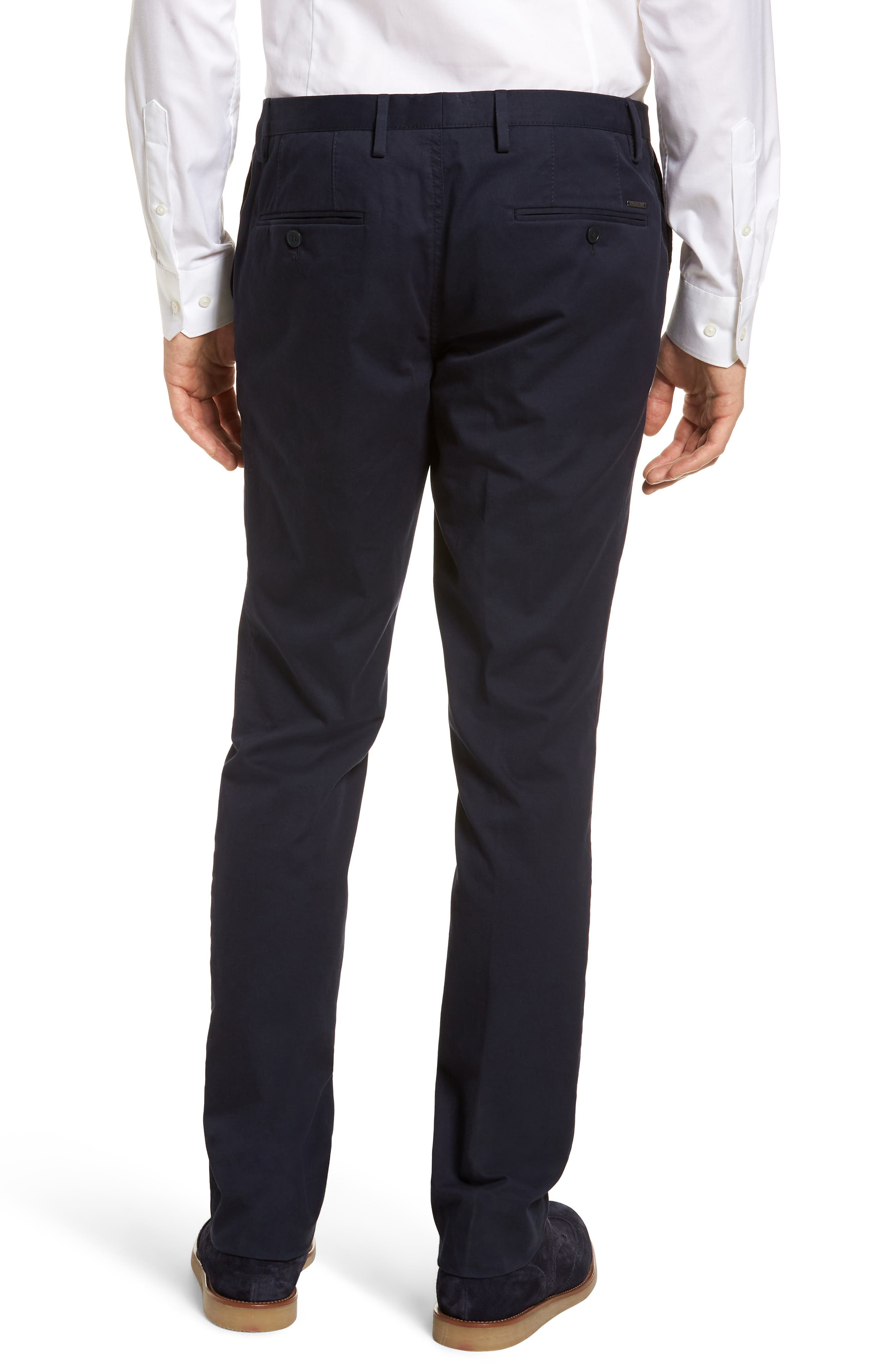 Stanino-W Flat Front Stretch Cotton Trousers,                             Alternate thumbnail 2, color,                             Navy