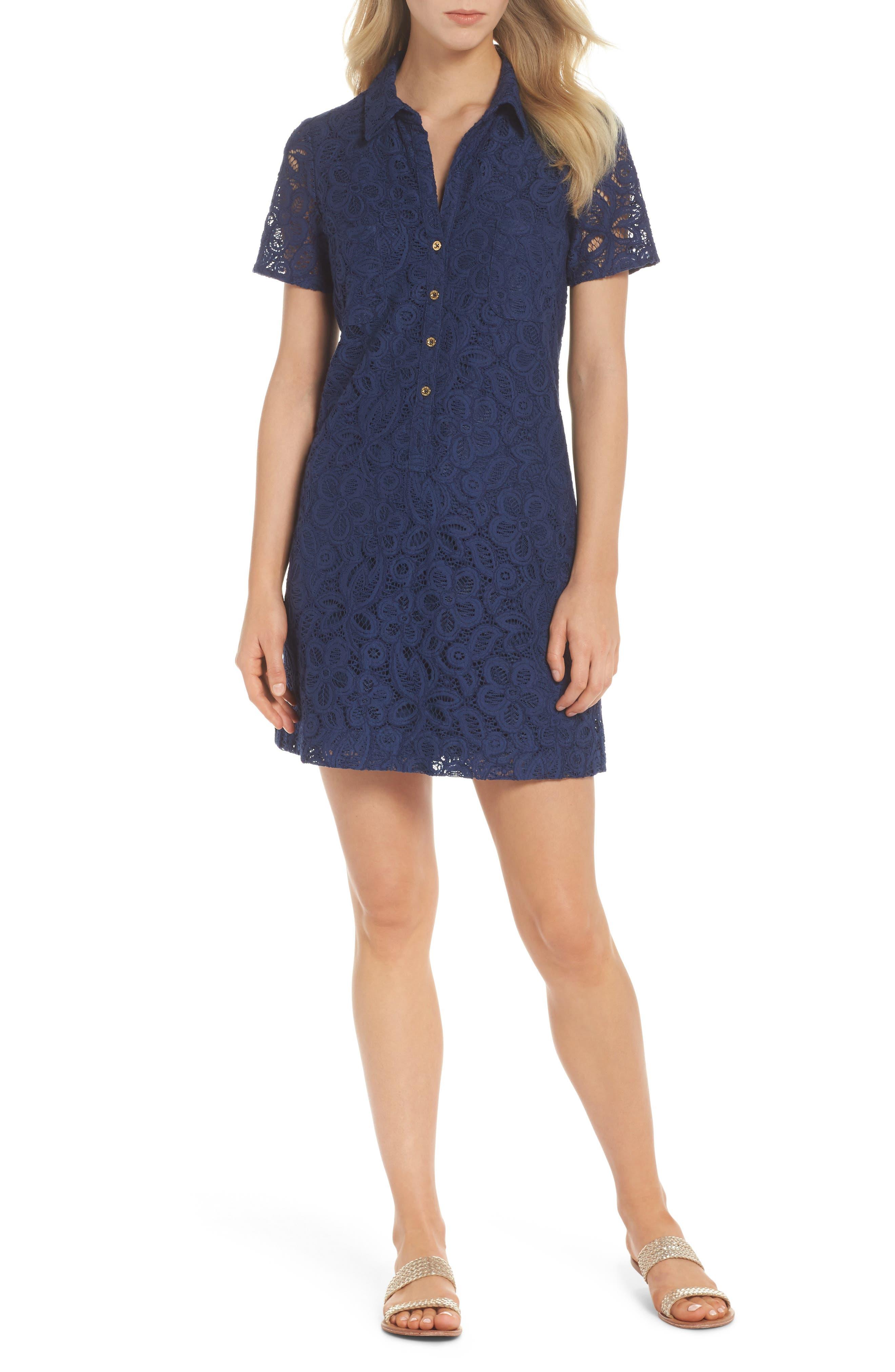 Nelle Shirtdress,                         Main,                         color, High Tide Floral Pop Lace