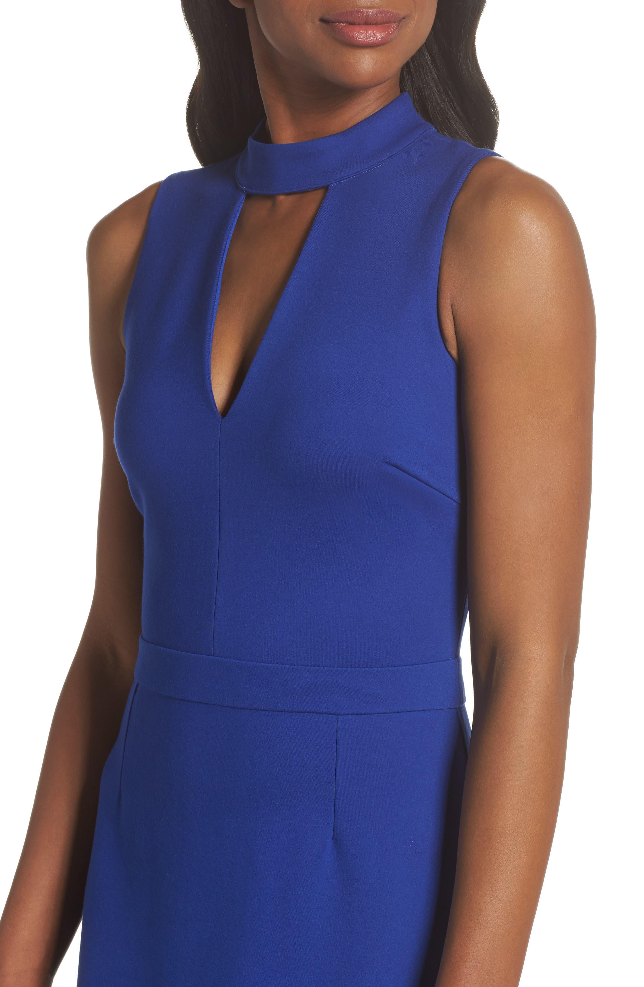 Nessa Ponte Midi Dress,                             Alternate thumbnail 4, color,                             Cobalt
