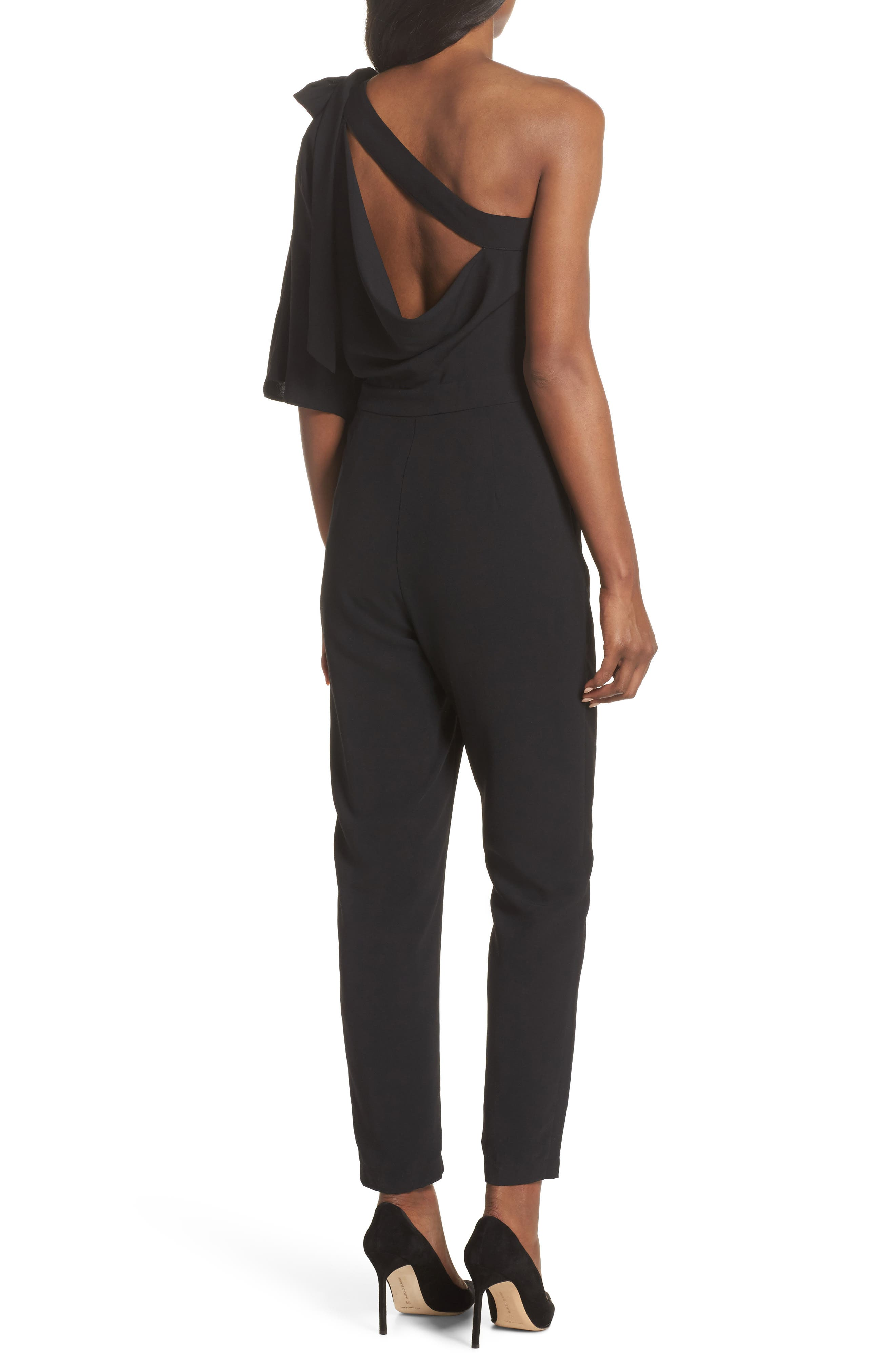 Willow One-Shoulder Jumpsuit,                             Alternate thumbnail 2, color,                             Black