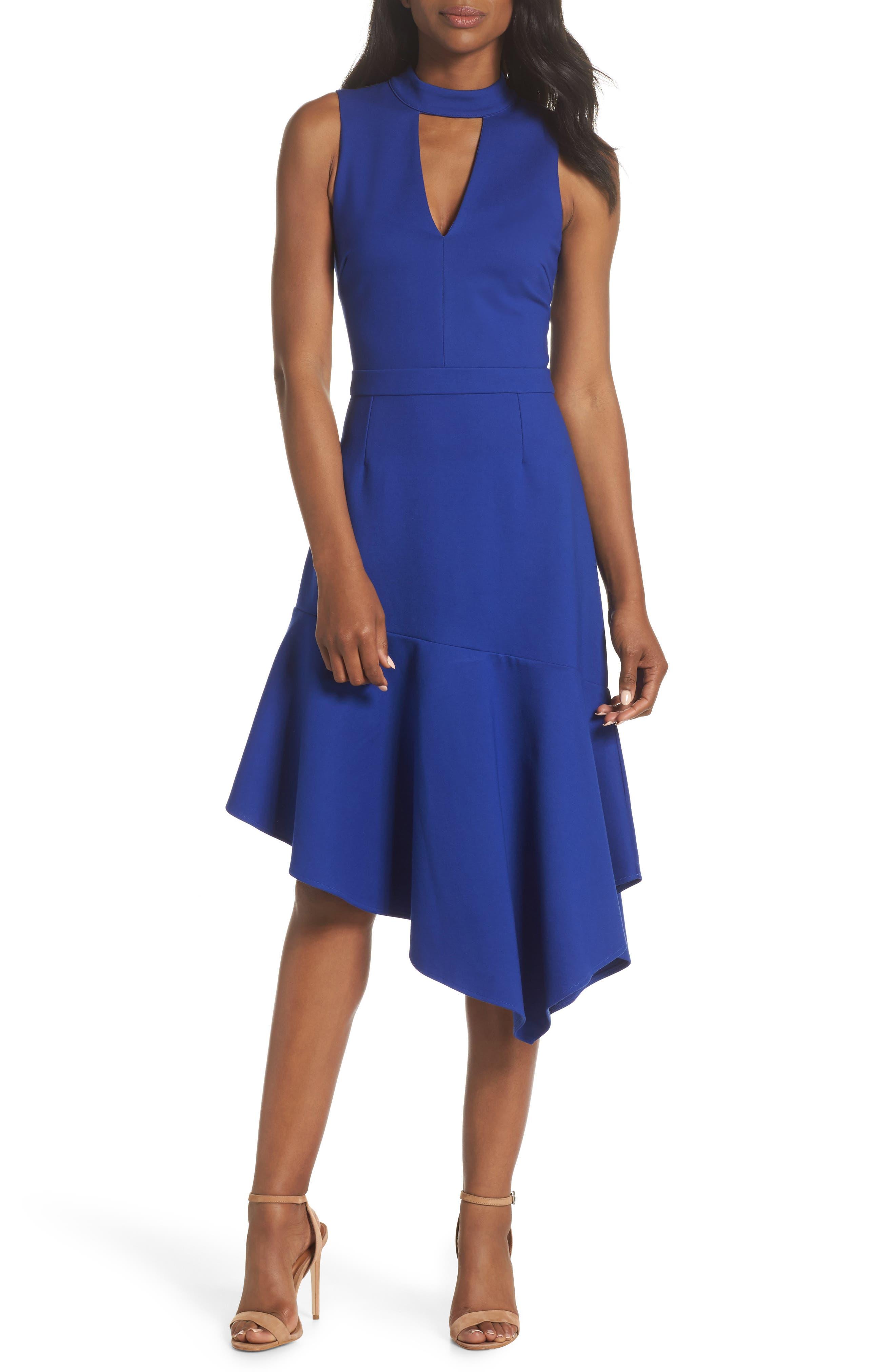 Nessa Ponte Midi Dress,                         Main,                         color, Cobalt