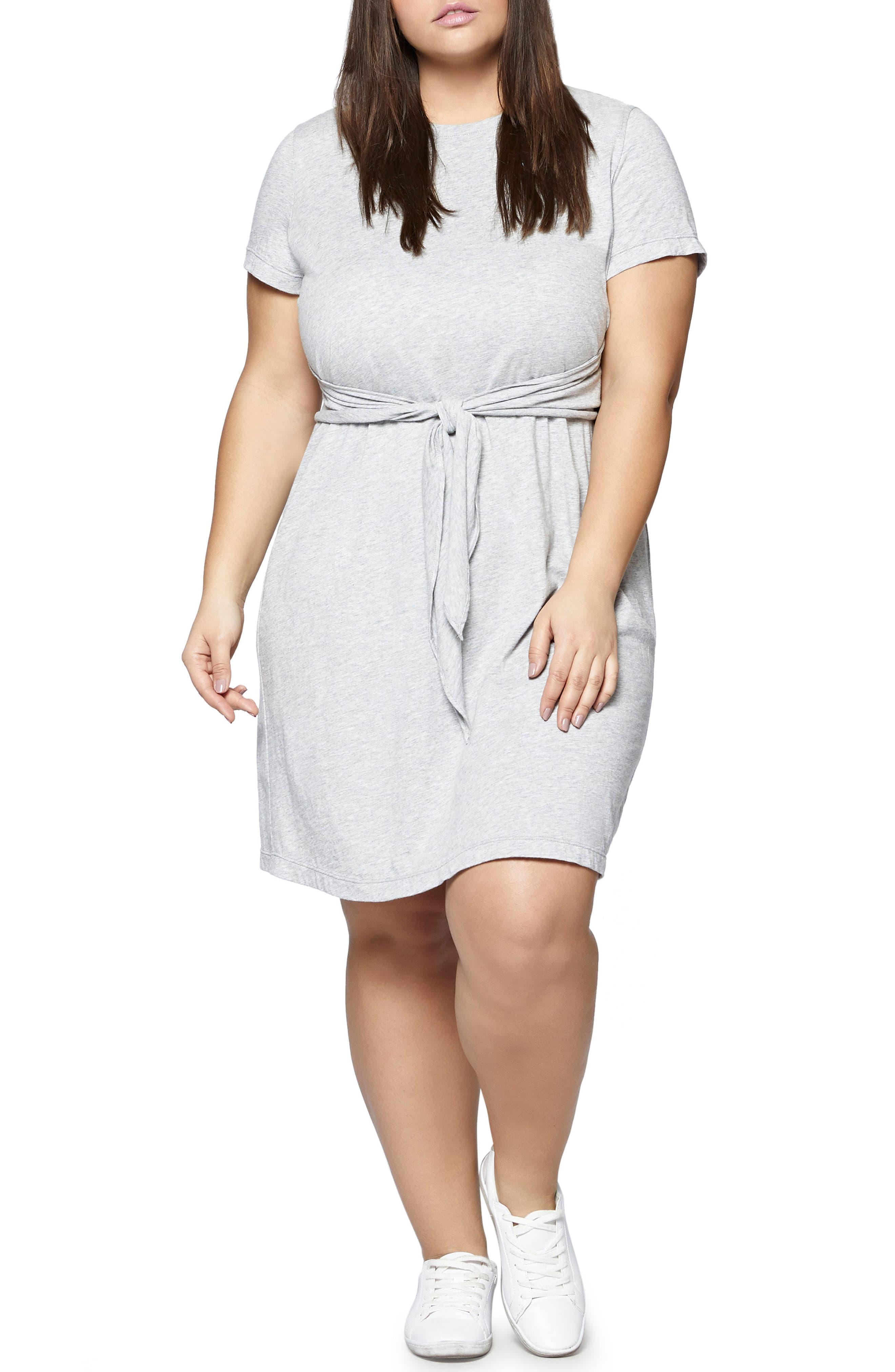 Juno Tie Waist T-Shirt Dress,                             Main thumbnail 1, color,                             Heather Grey