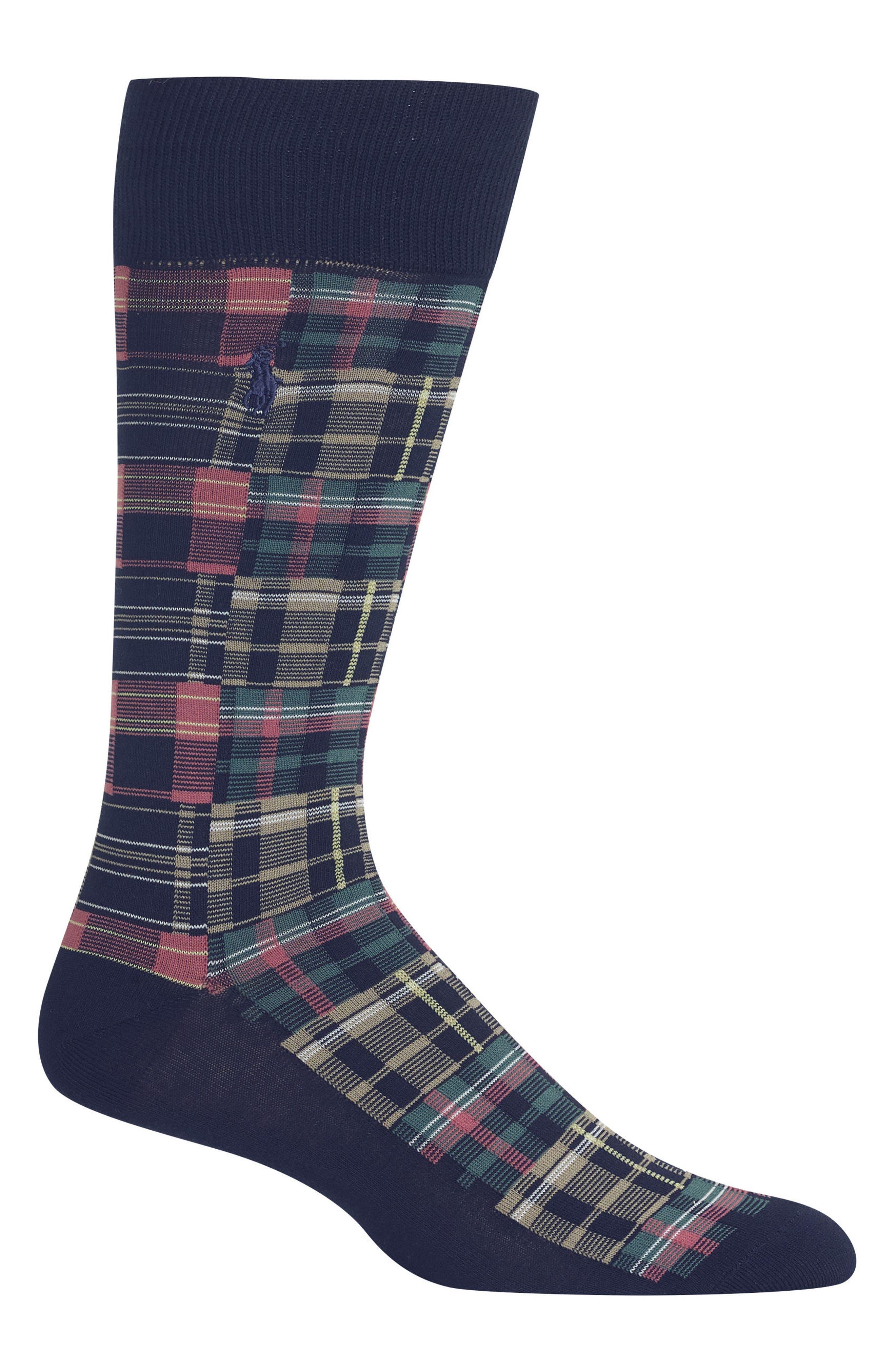 Ralph Lauren Patchwork Madras Socks,                             Main thumbnail 1, color,                             Navy