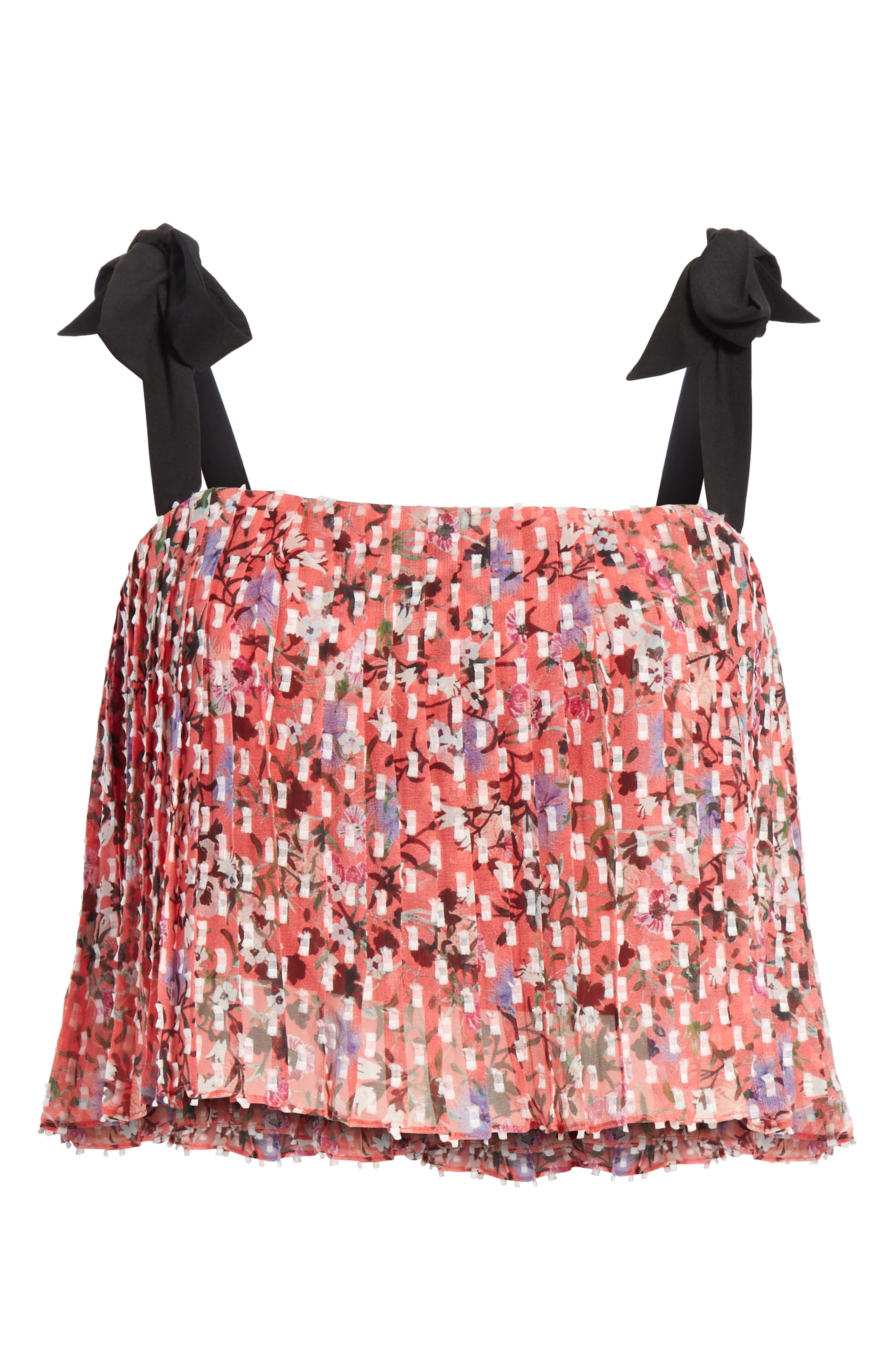 Jemi Tie Strap Silk Blend Top,                             Alternate thumbnail 6, color,                             Coral Meadow