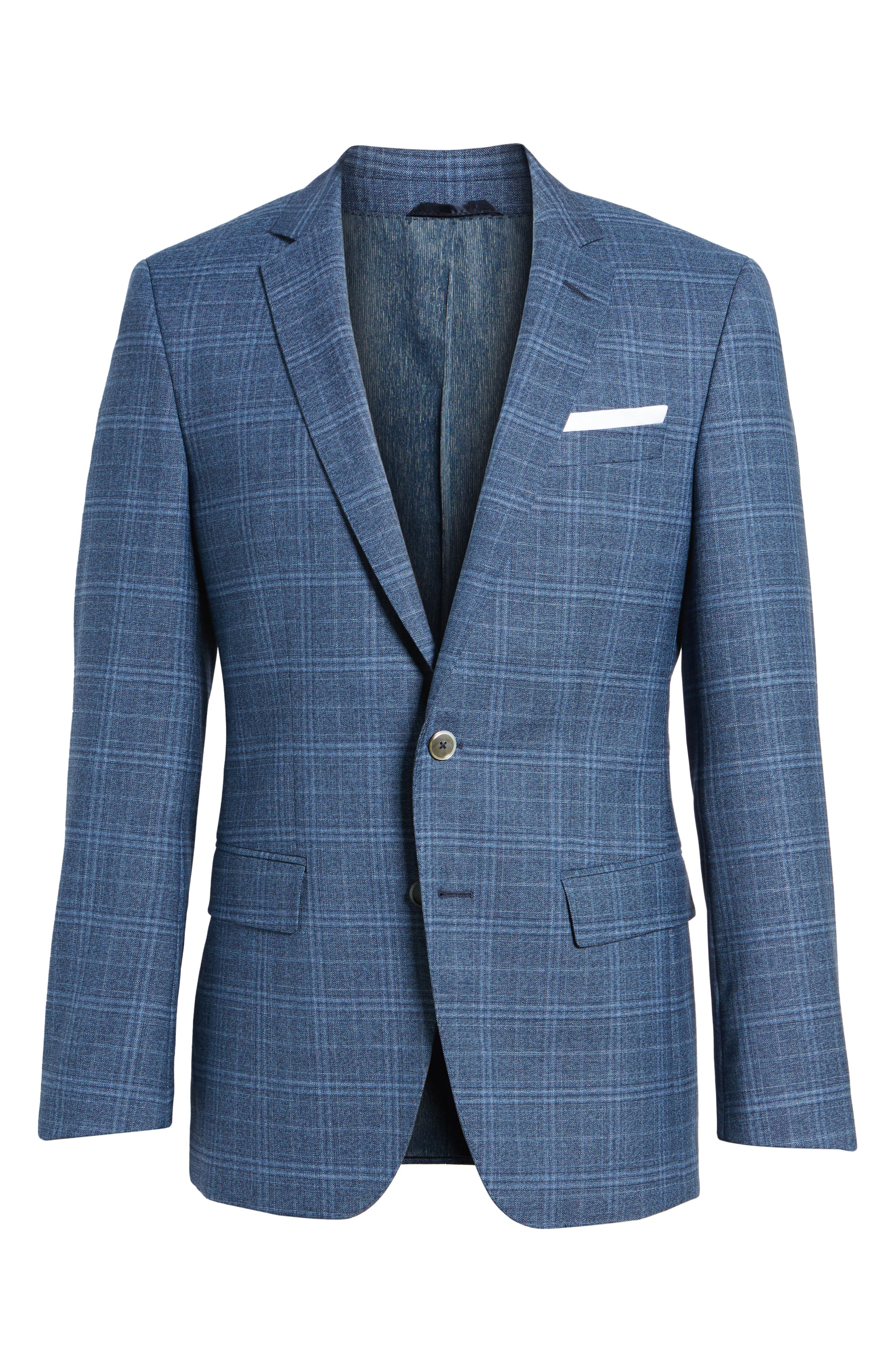 Hutsons Trim Fit Plaid Wool Sport Coat,                             Alternate thumbnail 6, color,                             Medium Blue/ Navy