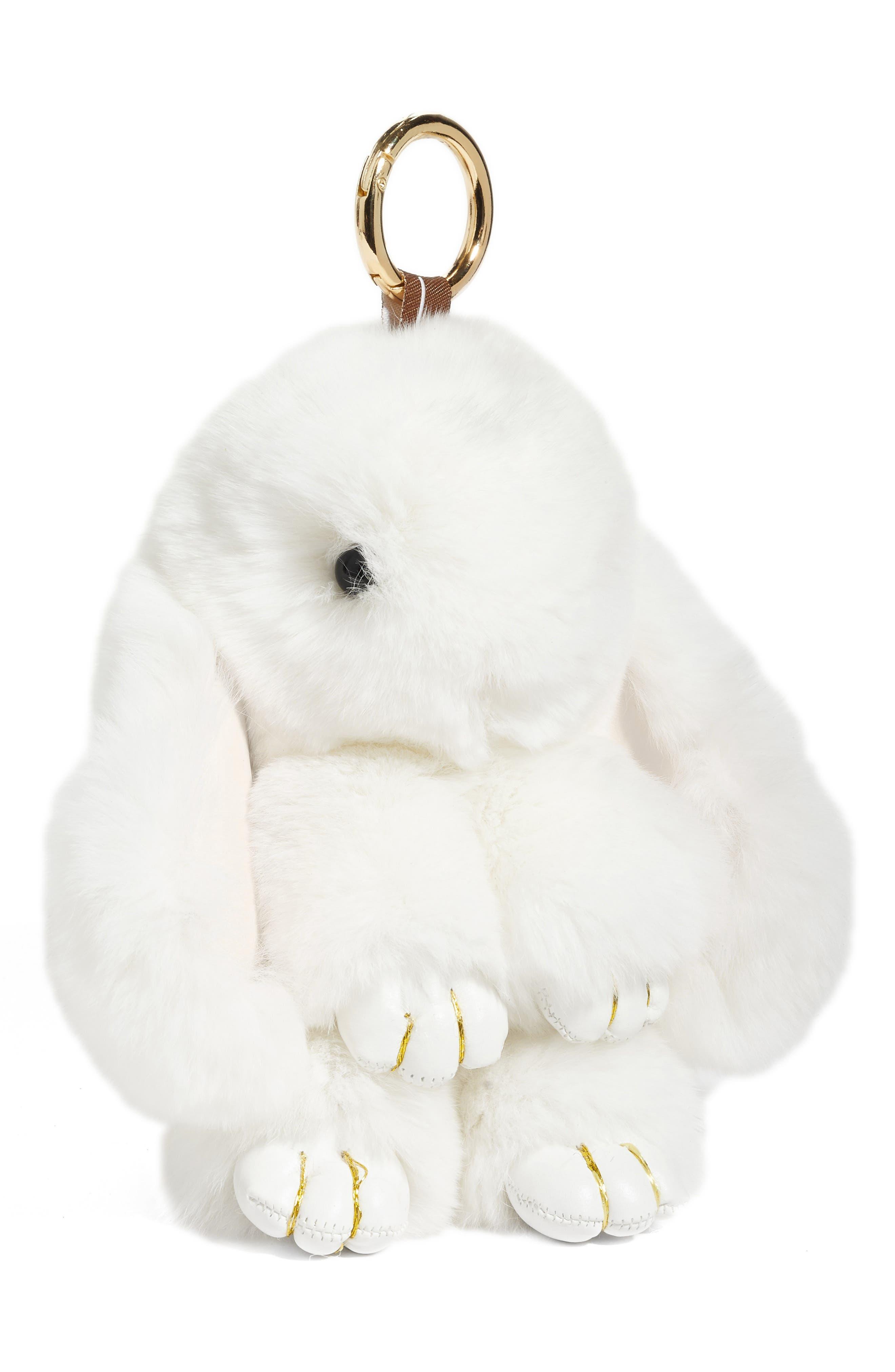 Natasha Couture Genuine Rabbit Fur Bag Charm,                         Main,                         color, White