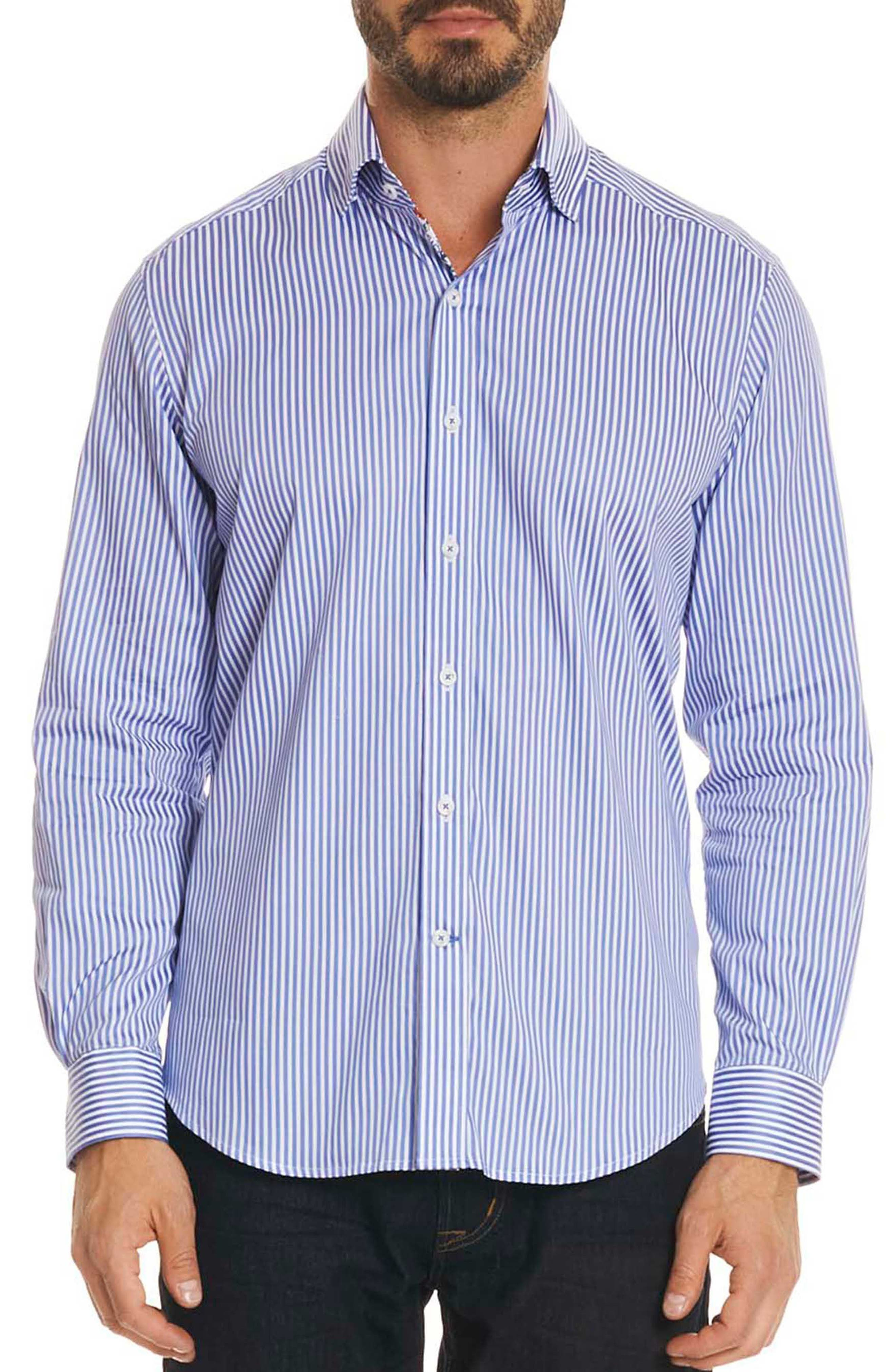Luther Classic Fit Stripe Sport Shirt,                         Main,                         color, Steel