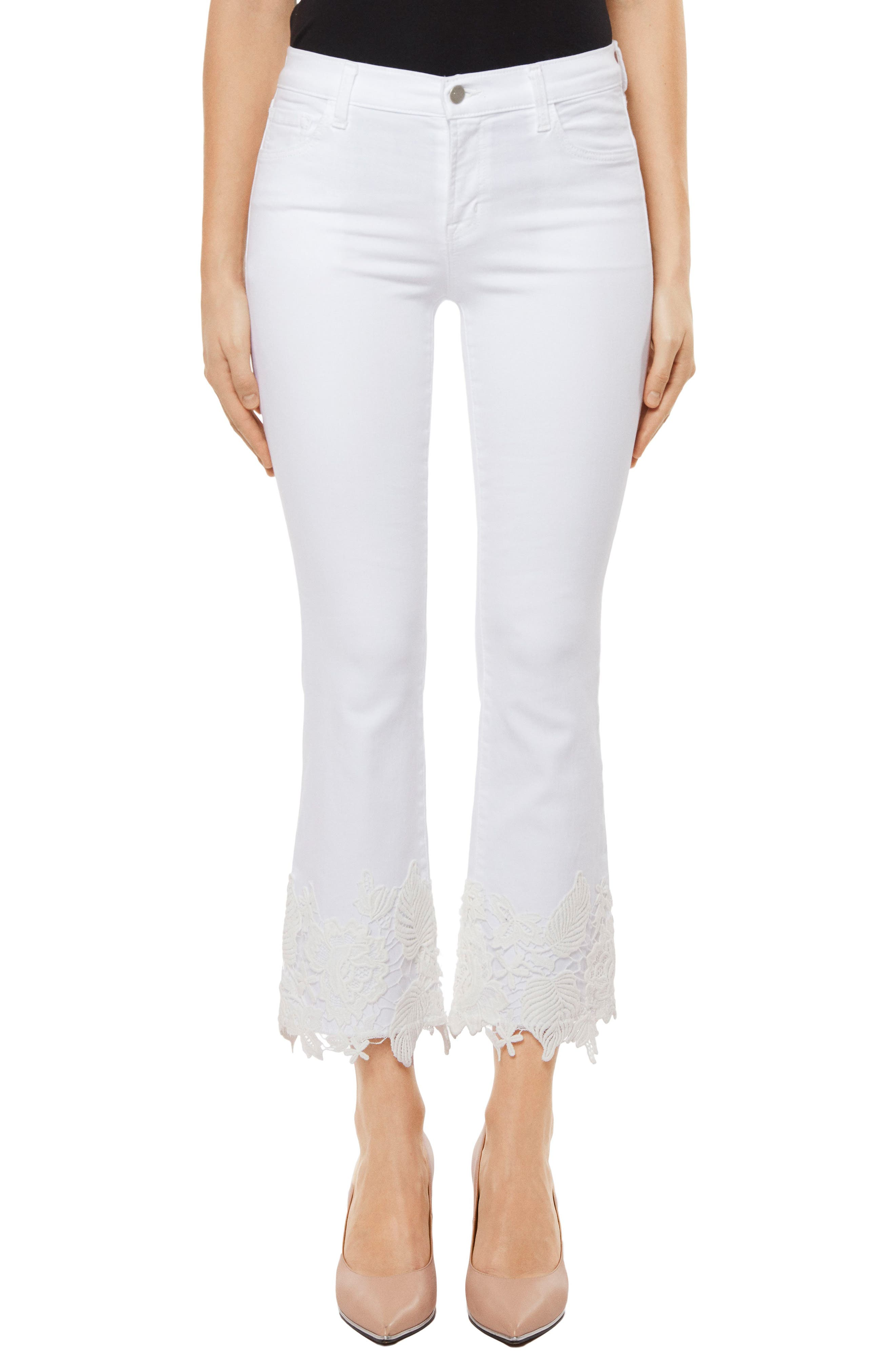 Alternate Image 1 Selected - J Brand Selena Crop Bootcut Jeans (White Lace)