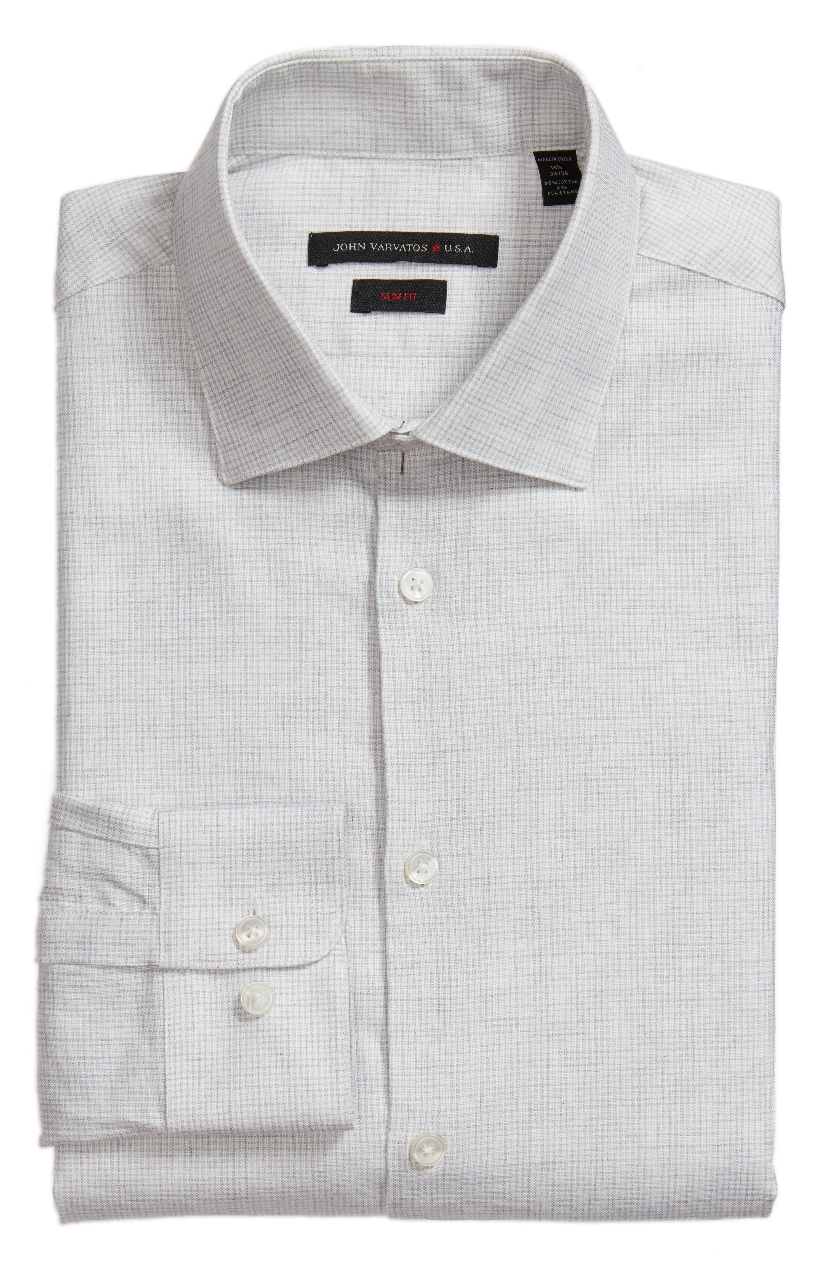 Slim Fit Microcheck Dress Shirt,                         Main,                         color, Lt Grey Hthr