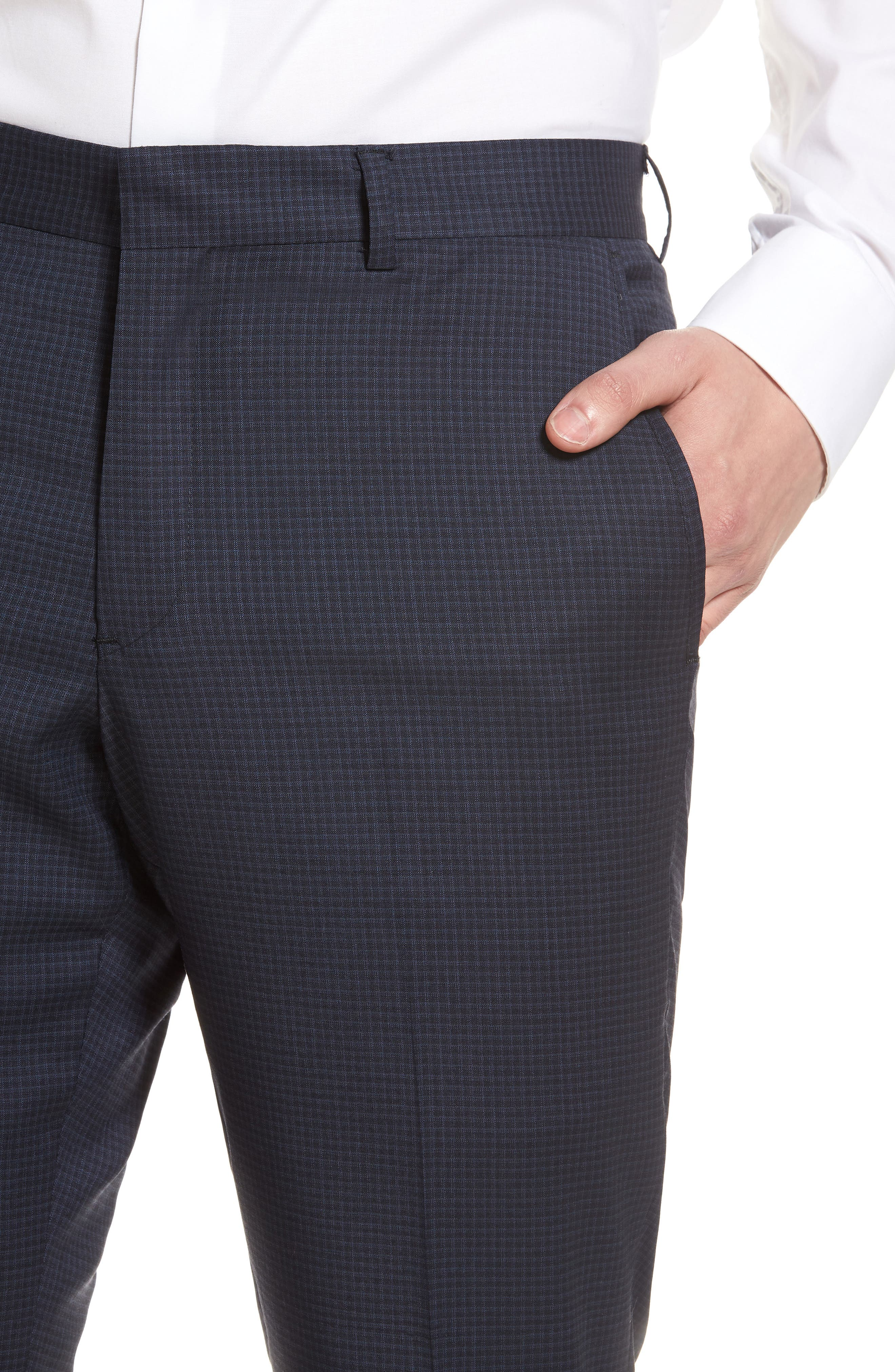 Tech-Smart Check Flat Front Stretch Wool Pants,                             Alternate thumbnail 4, color,                             Navy