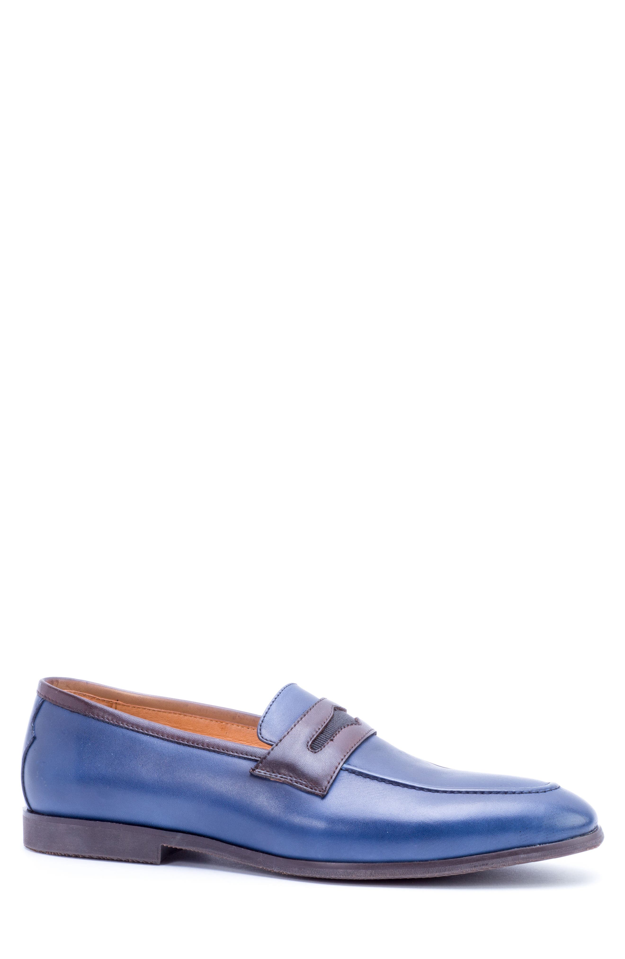 Apron Toe Penny Loafer,                             Alternate thumbnail 3, color,                             Navy Leather