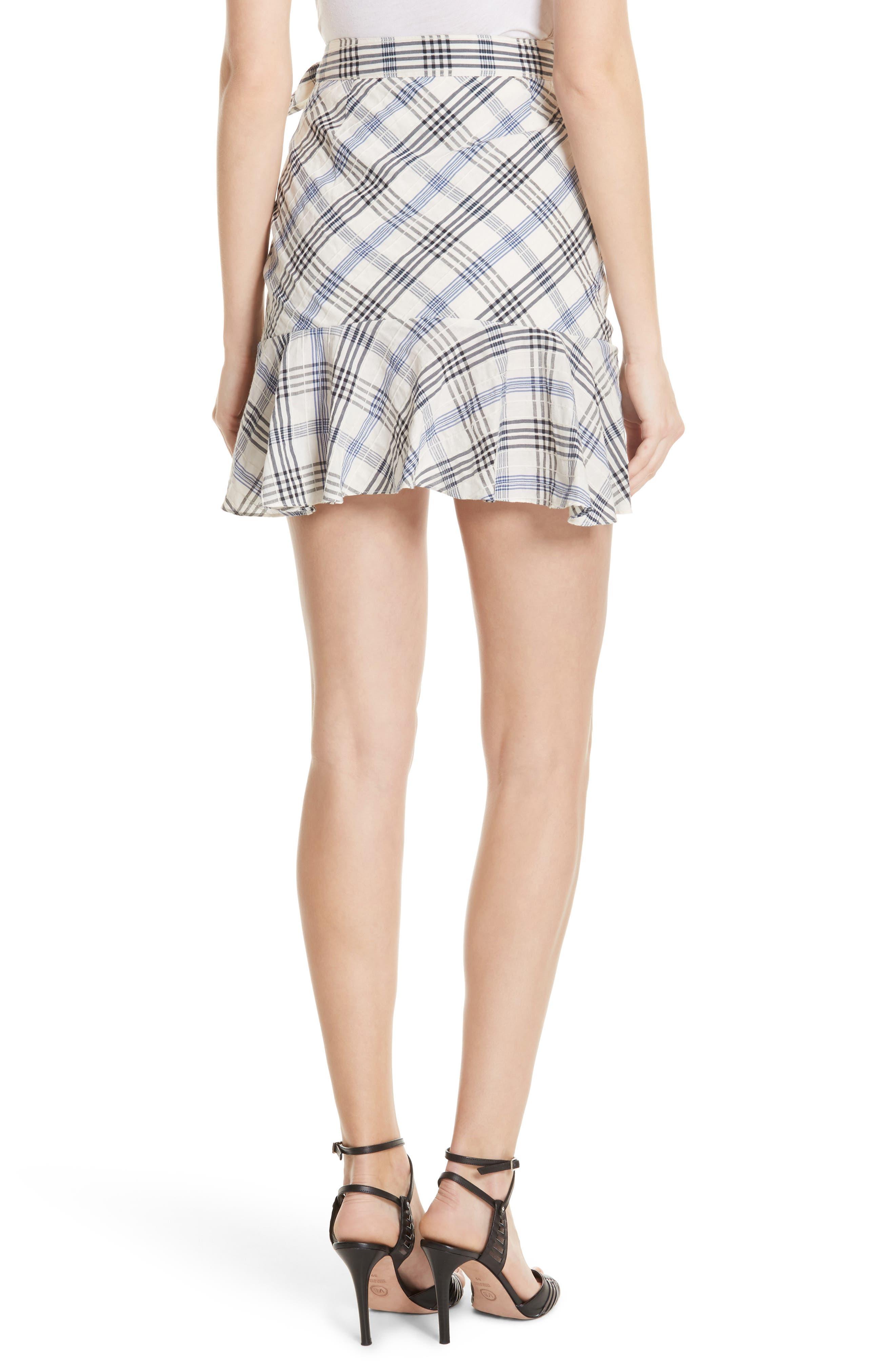 Kaia Check Ruffle Skirt,                             Alternate thumbnail 2, color,                             Blue