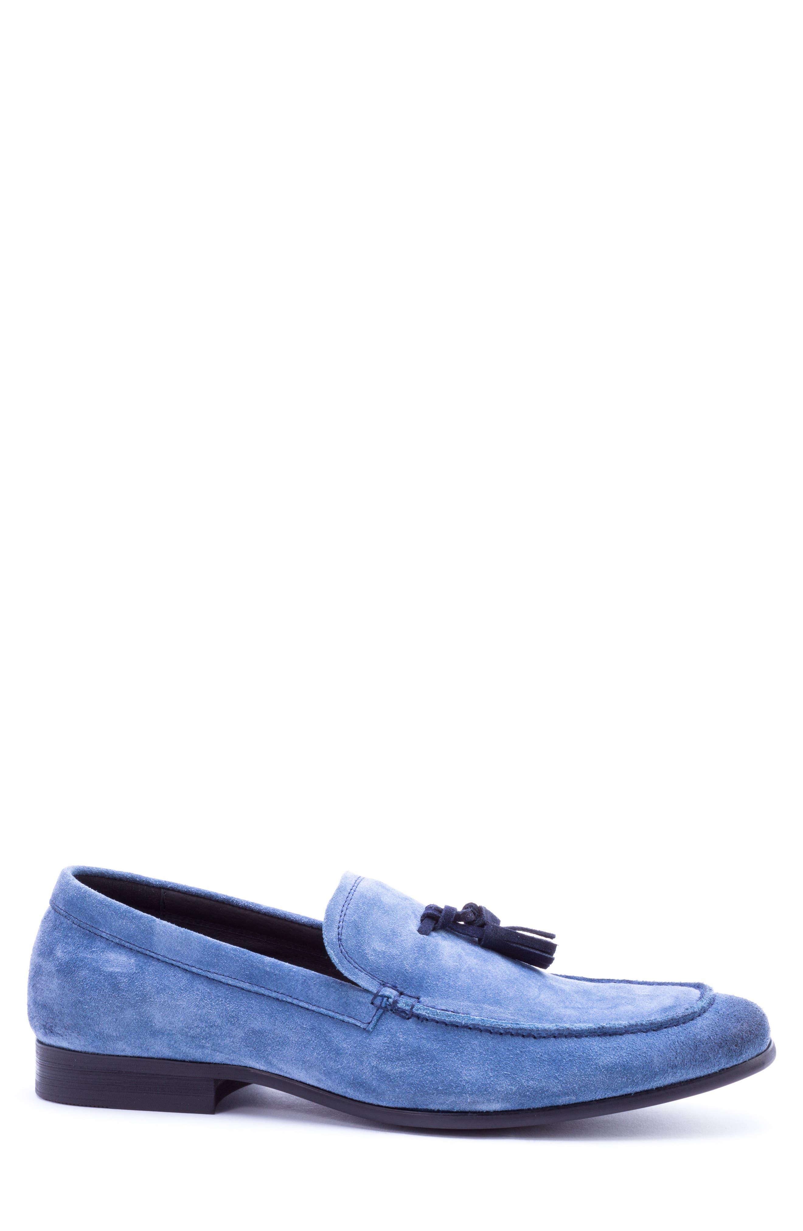 Severn Tassel Venetian Loafer,                             Alternate thumbnail 3, color,                             Blue Suede
