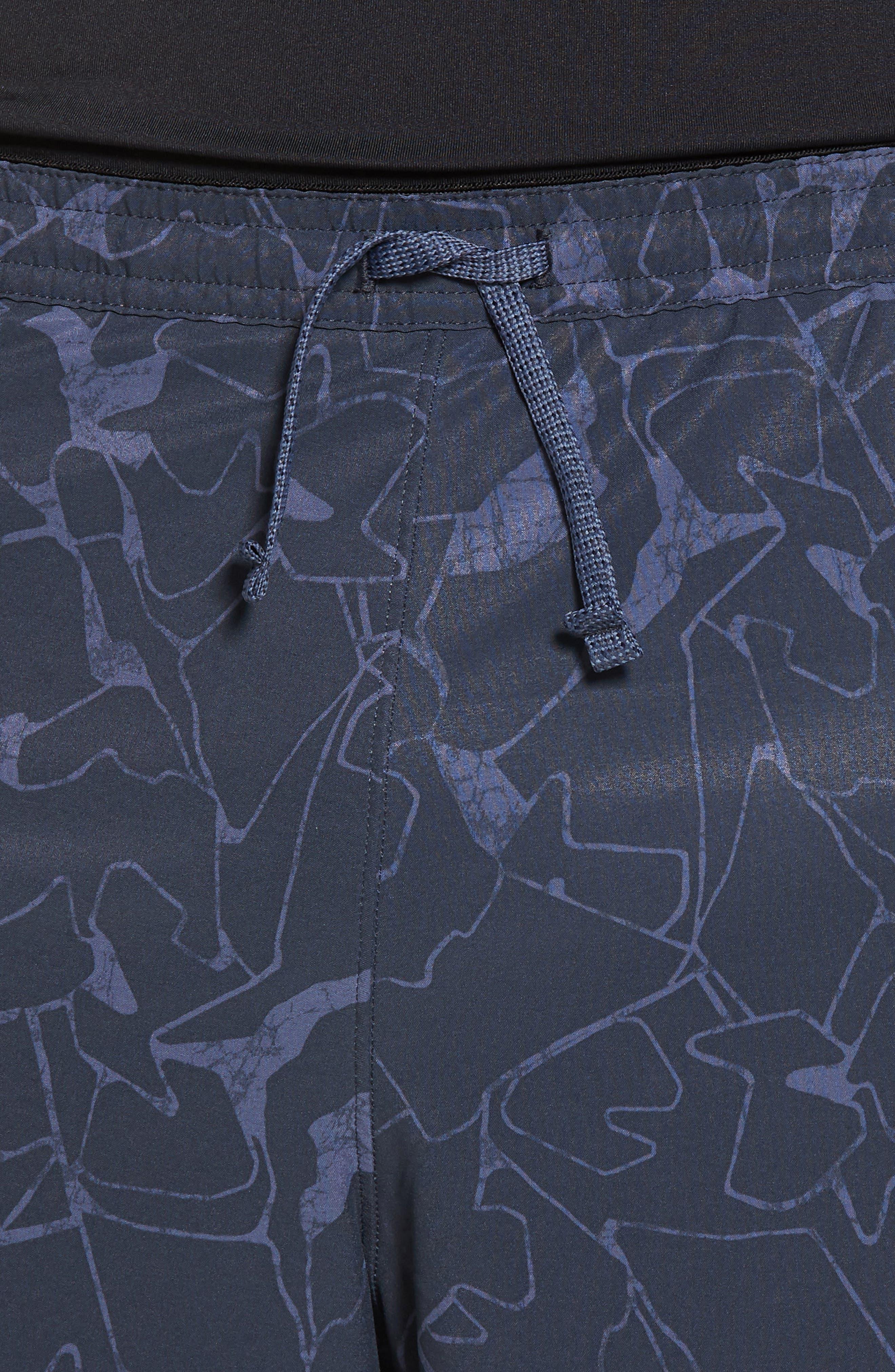 Nine Trails Hiking Shorts,                             Alternate thumbnail 4, color,                             Rock Jigsaw/ Smolder Blue
