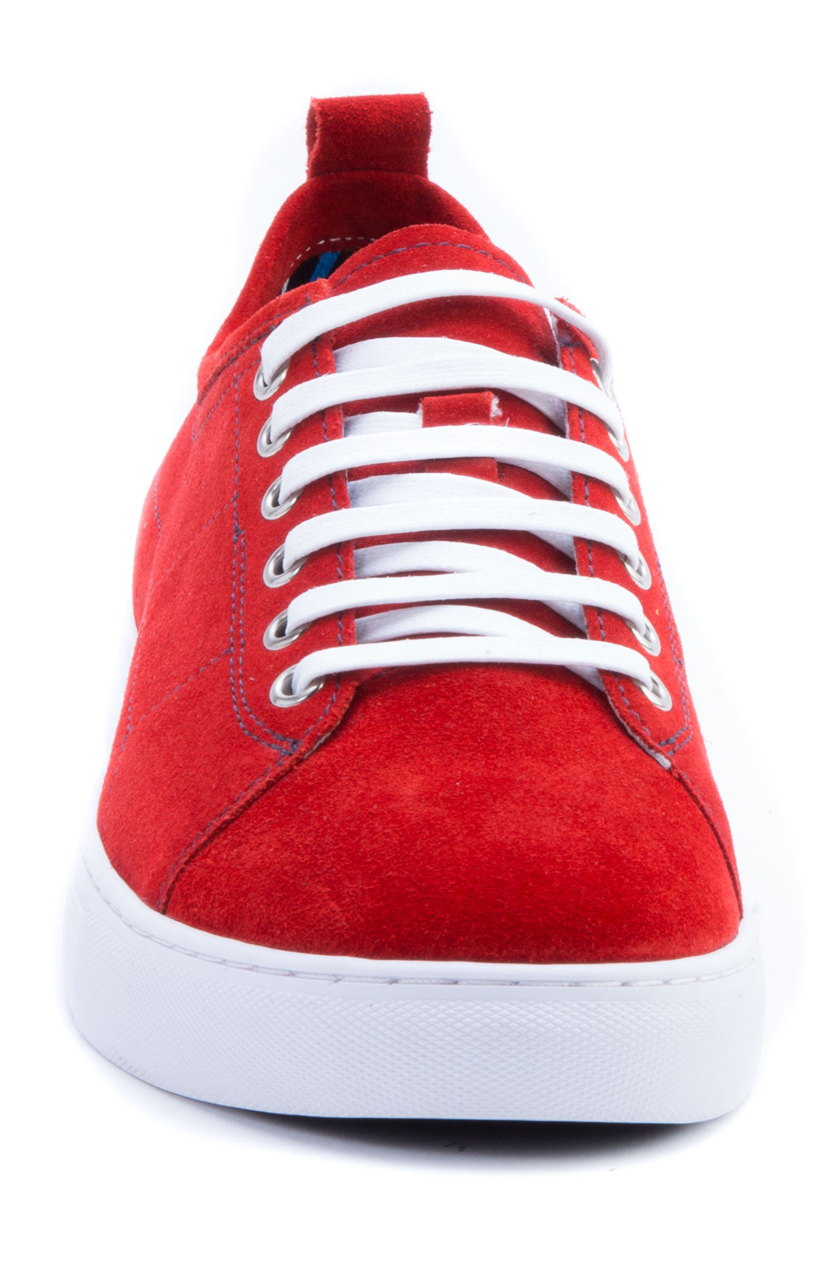 Ernesto Low Top Sneaker,                             Alternate thumbnail 4, color,                             Red Suede