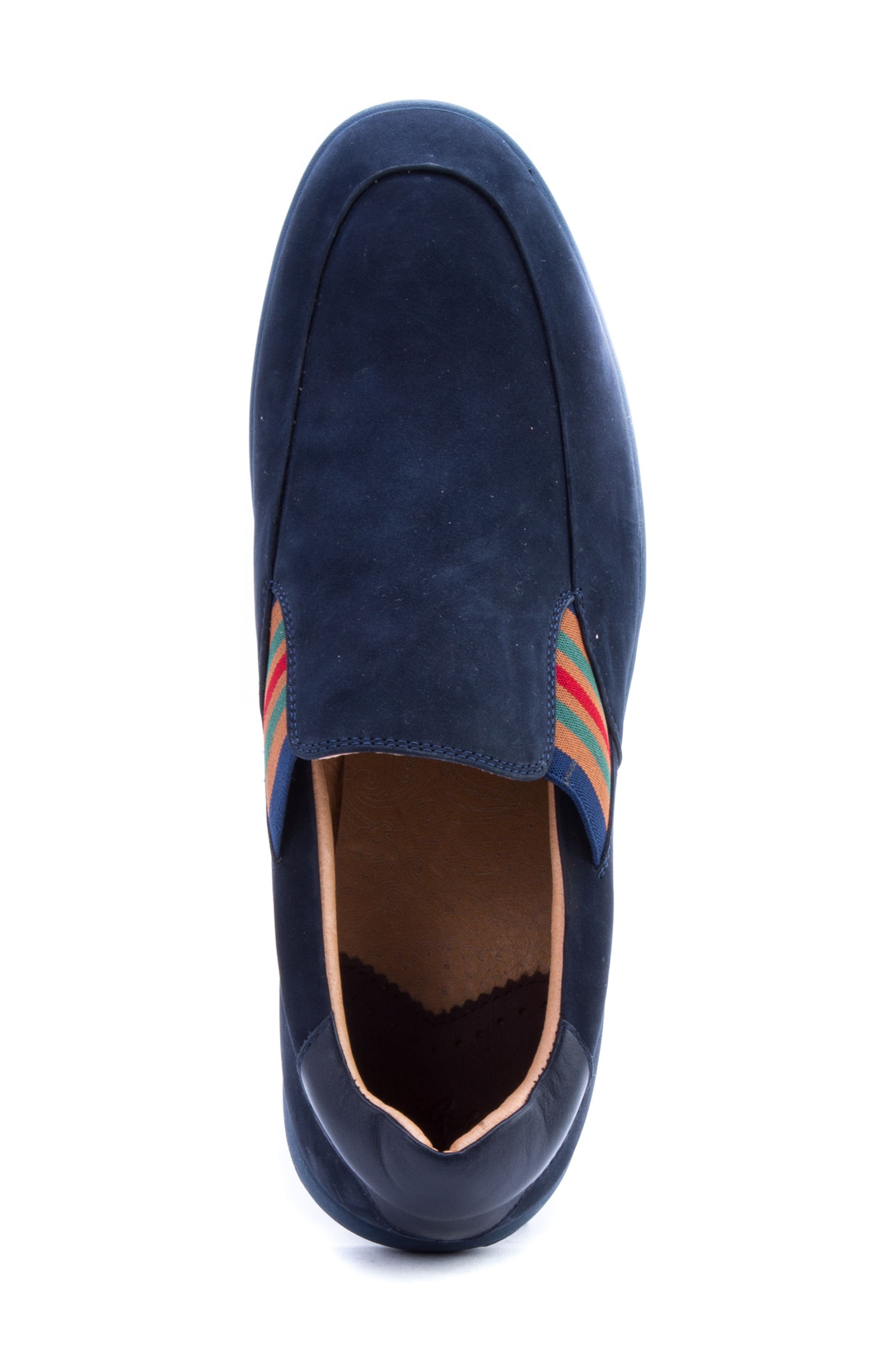 Avenida Striped Slip-On,                             Alternate thumbnail 5, color,                             Navy Suede