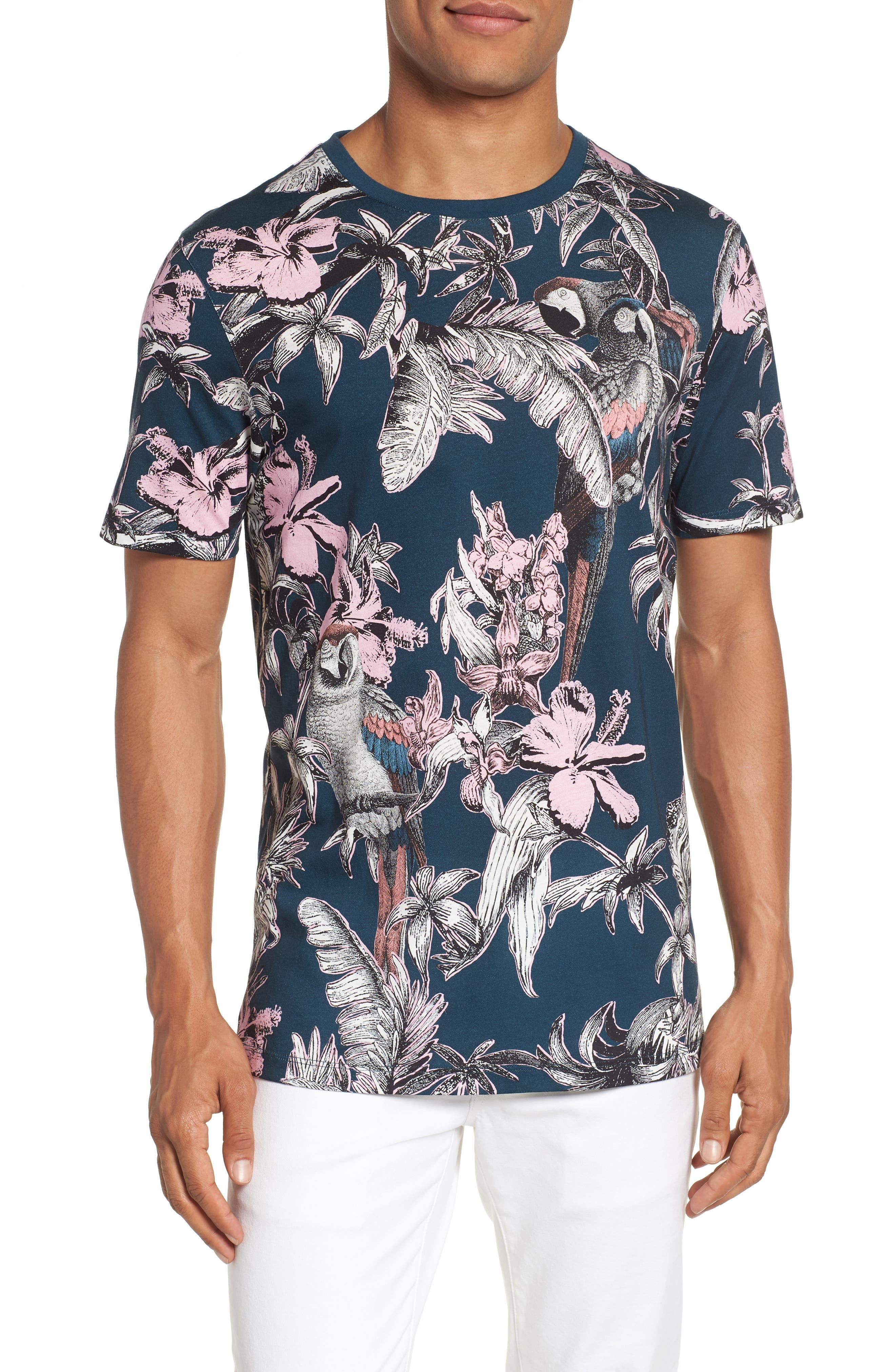 Trim Fit Print T-Shirt,                             Main thumbnail 1, color,                             Navy