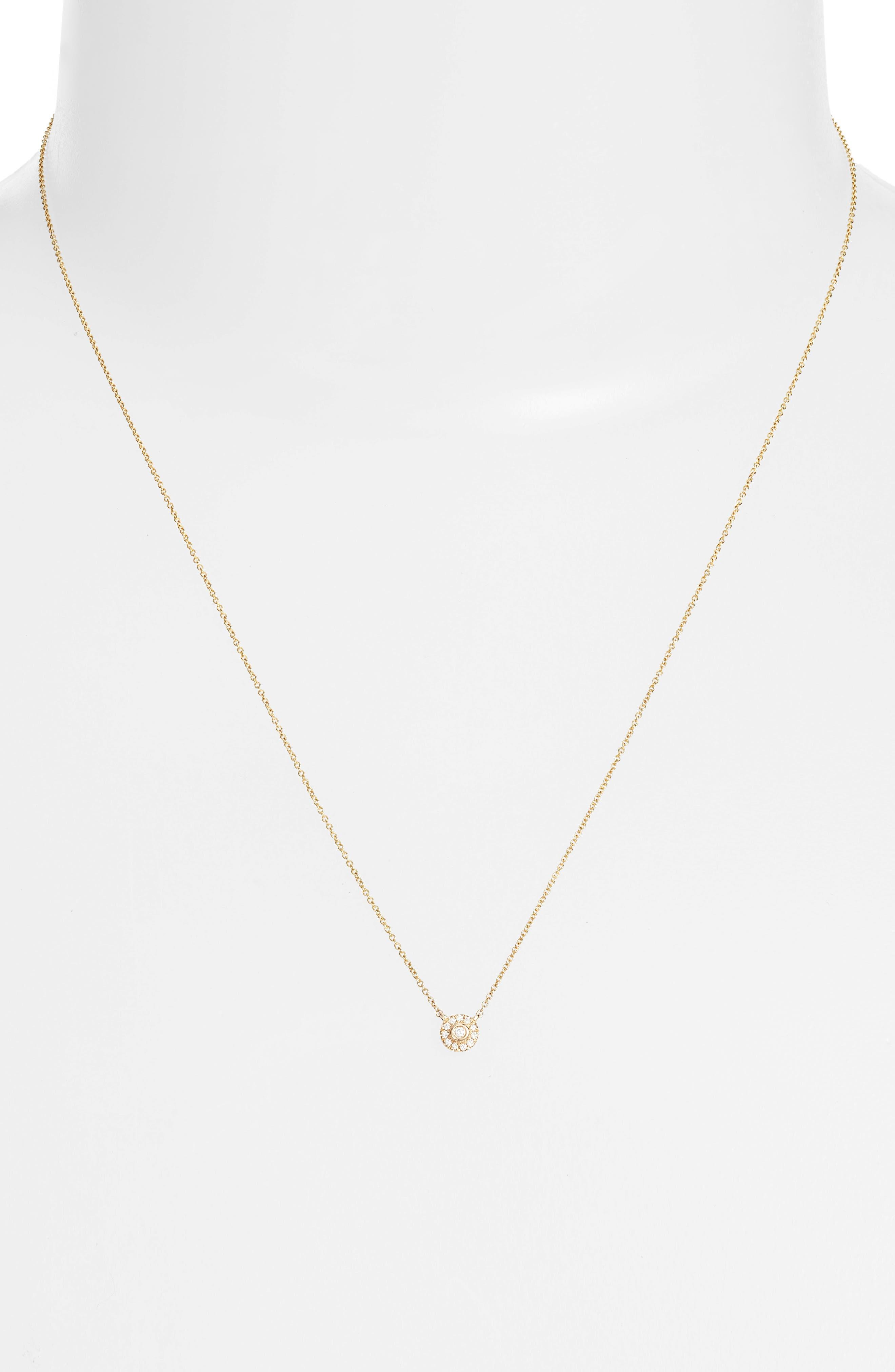 Lauren Joy Mini Diamond Disc Necklace,                             Alternate thumbnail 2, color,                             Yellow Gold