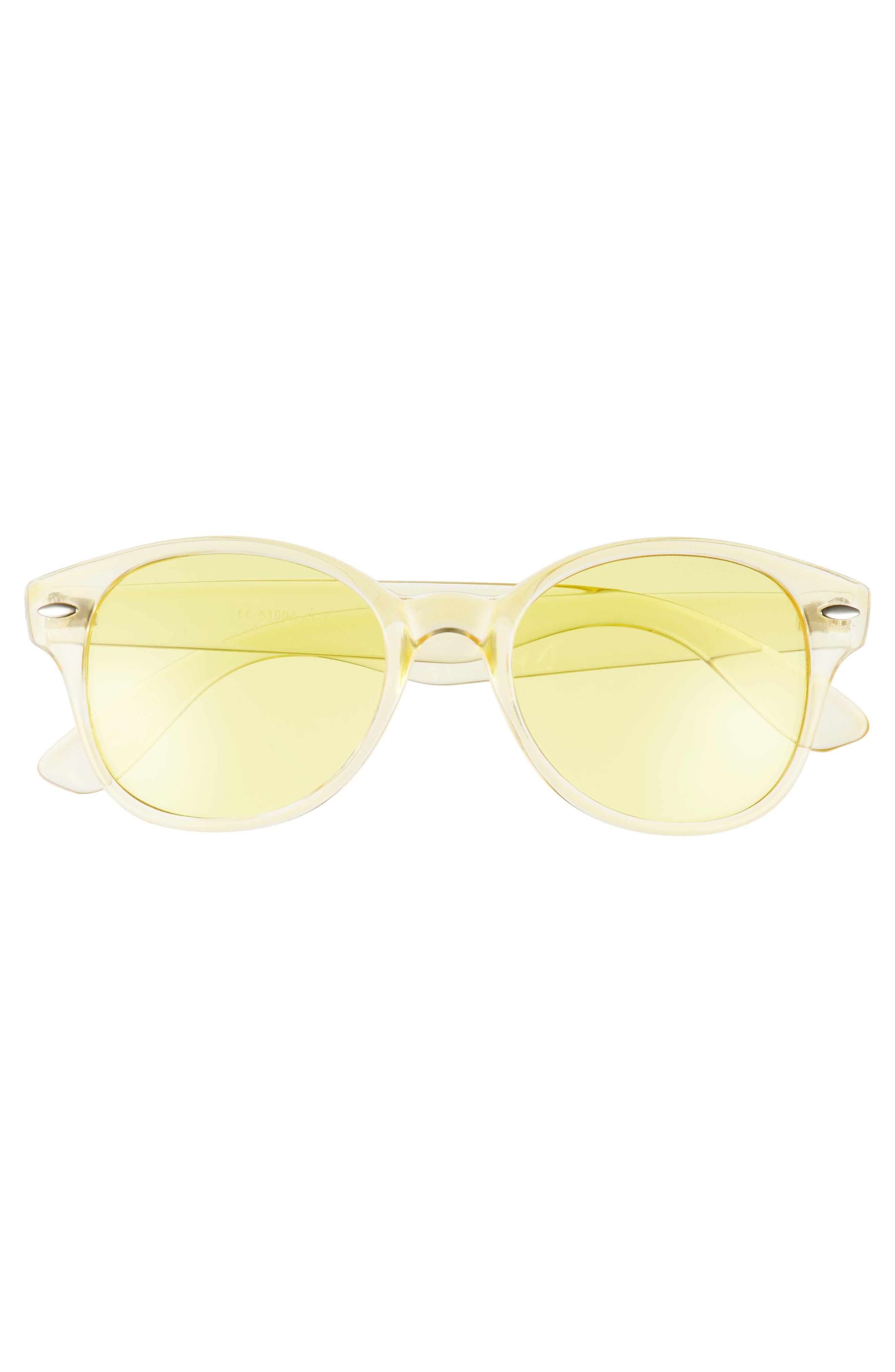 50mm Transparent Round Sunglasses,                             Alternate thumbnail 3, color,                             Yellow