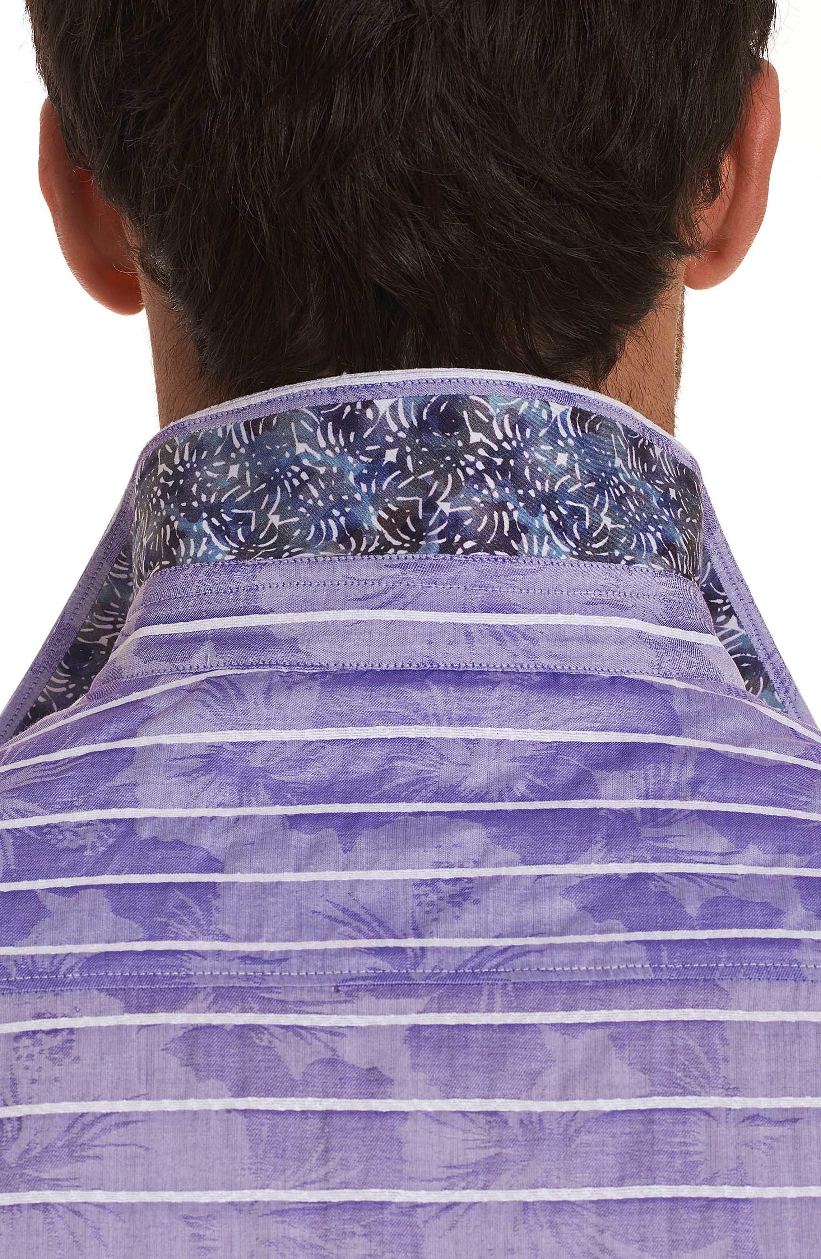 Avenida Classic Fit Jacquard Sport Shirt,                             Alternate thumbnail 3, color,                             Purple