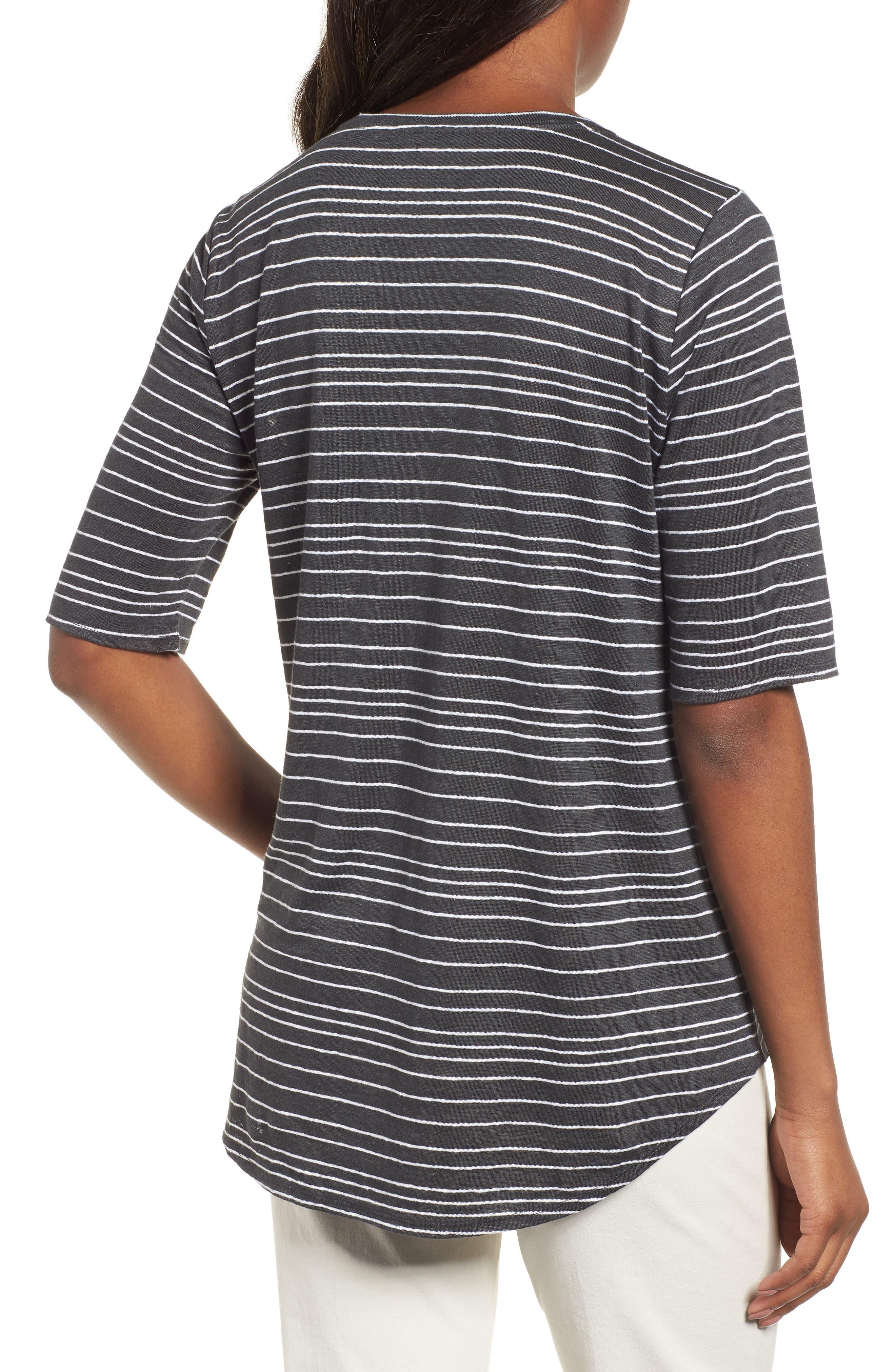 Stripe Organic Linen Top,                             Alternate thumbnail 2, color,                             Graphite