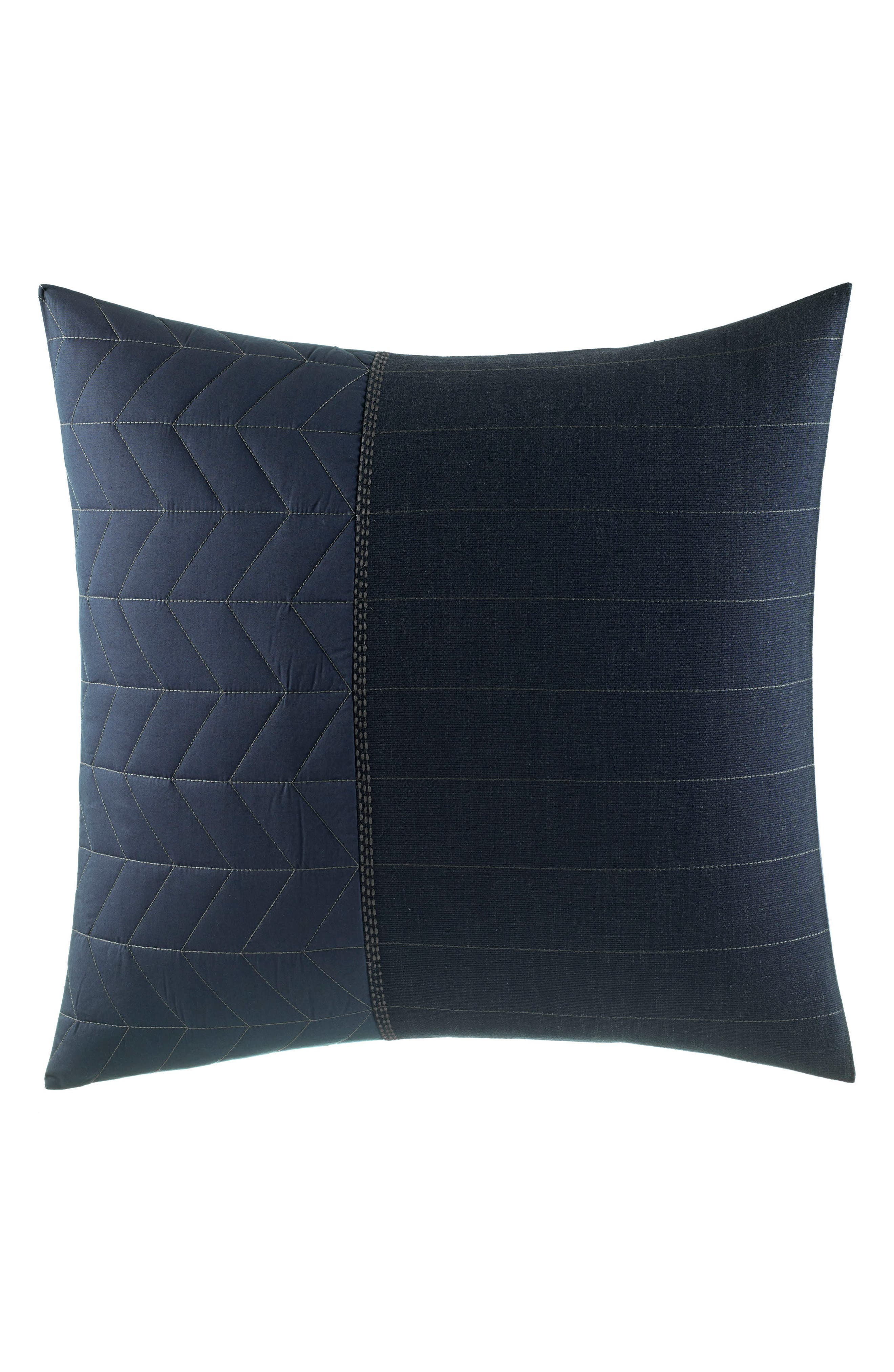 Quilted Euro Sham,                         Main,                         color, Navy