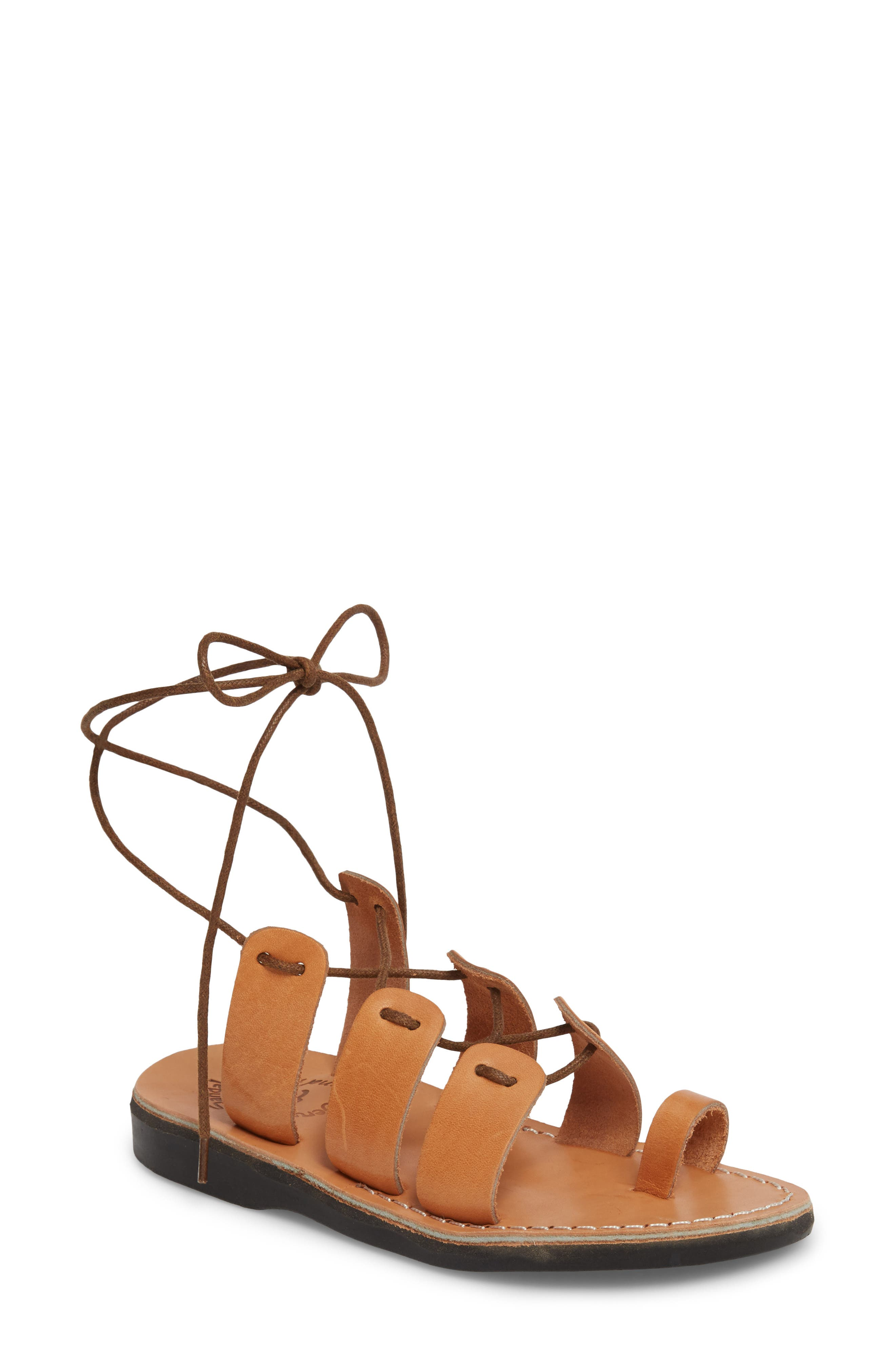 Deborah Wraparound Laces Sandal,                             Main thumbnail 1, color,                             Tan Leather